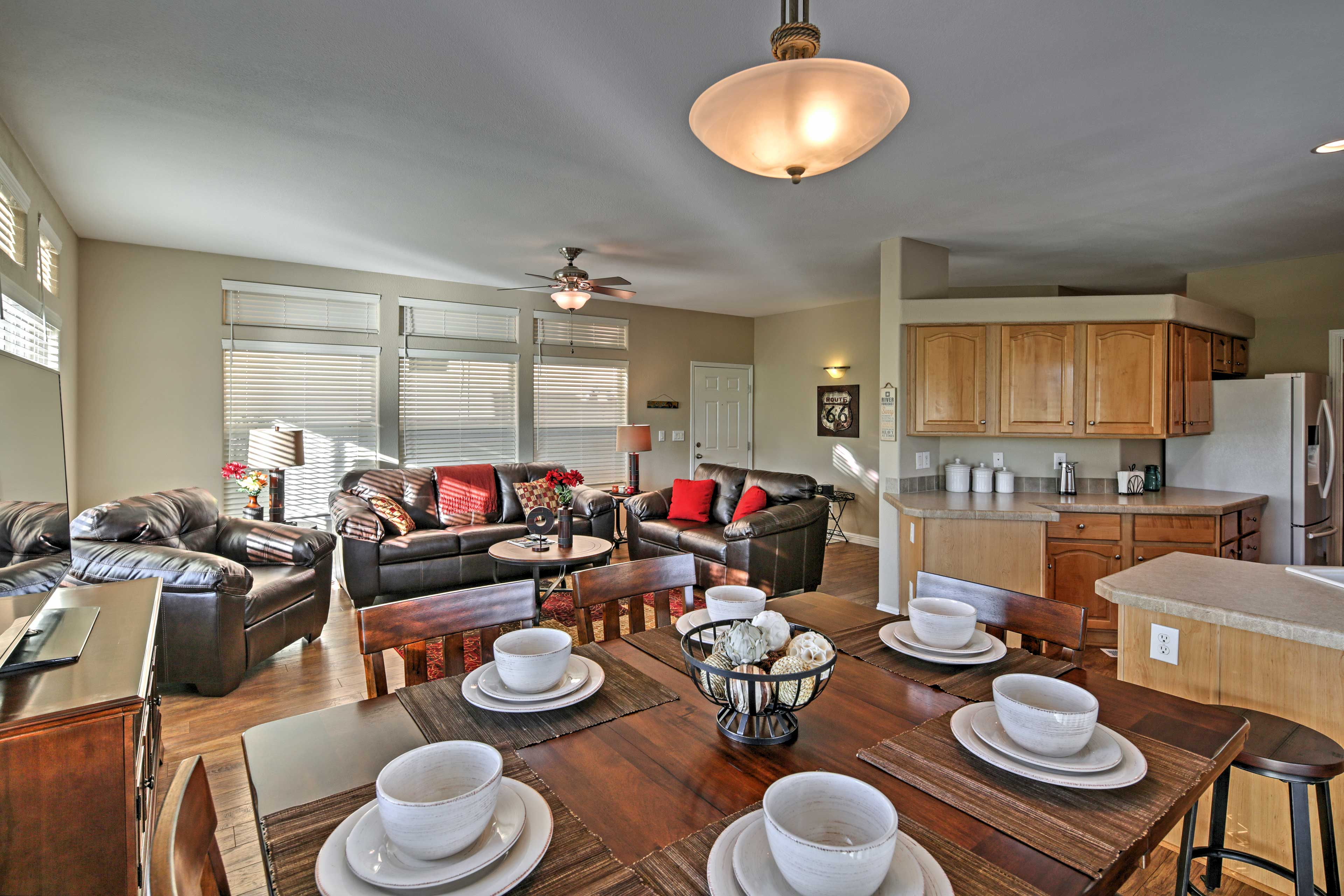 Dive into your mouthwatering meals at this gorgeous dining room table.