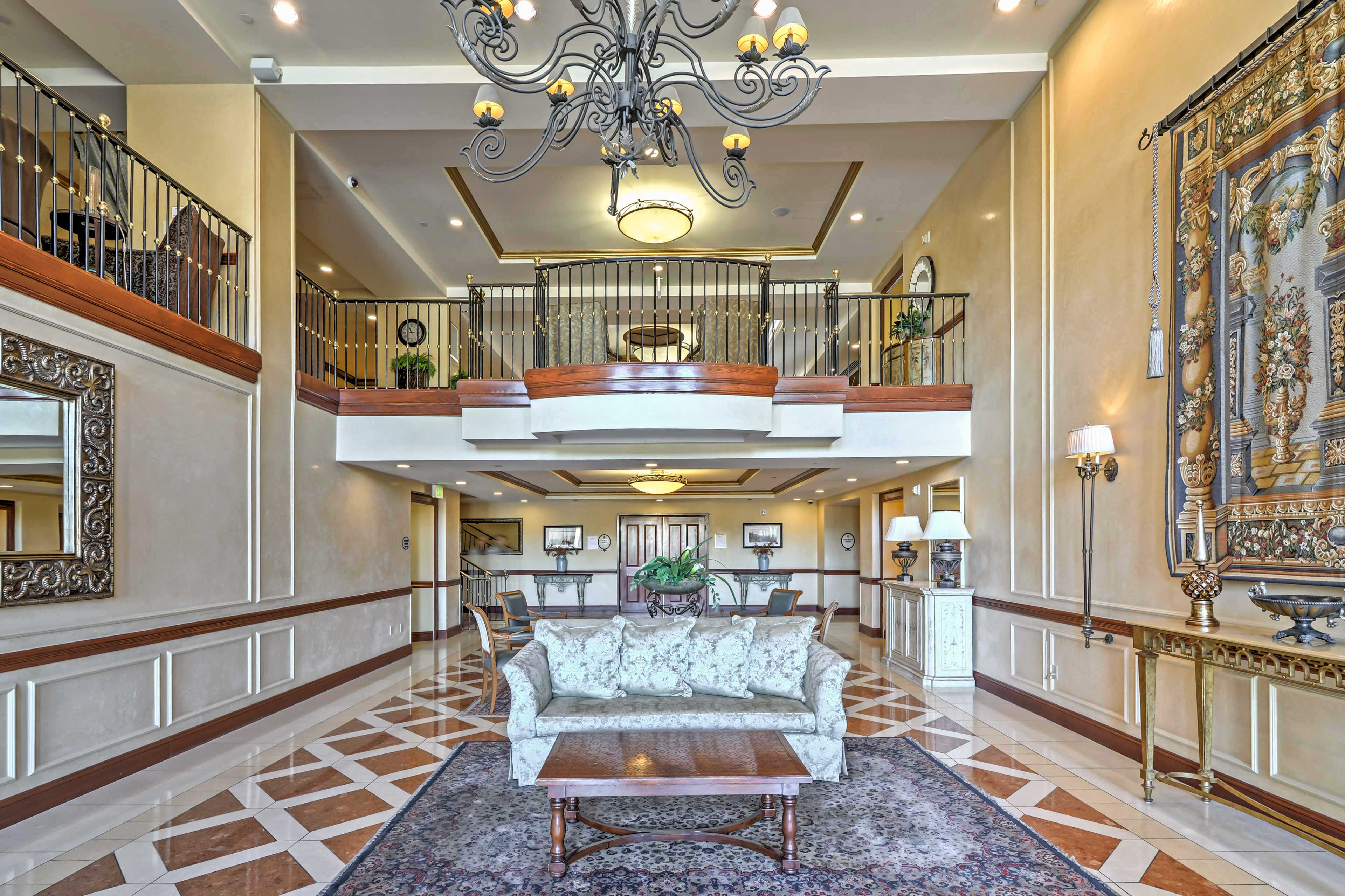 Elegant lower lobby.