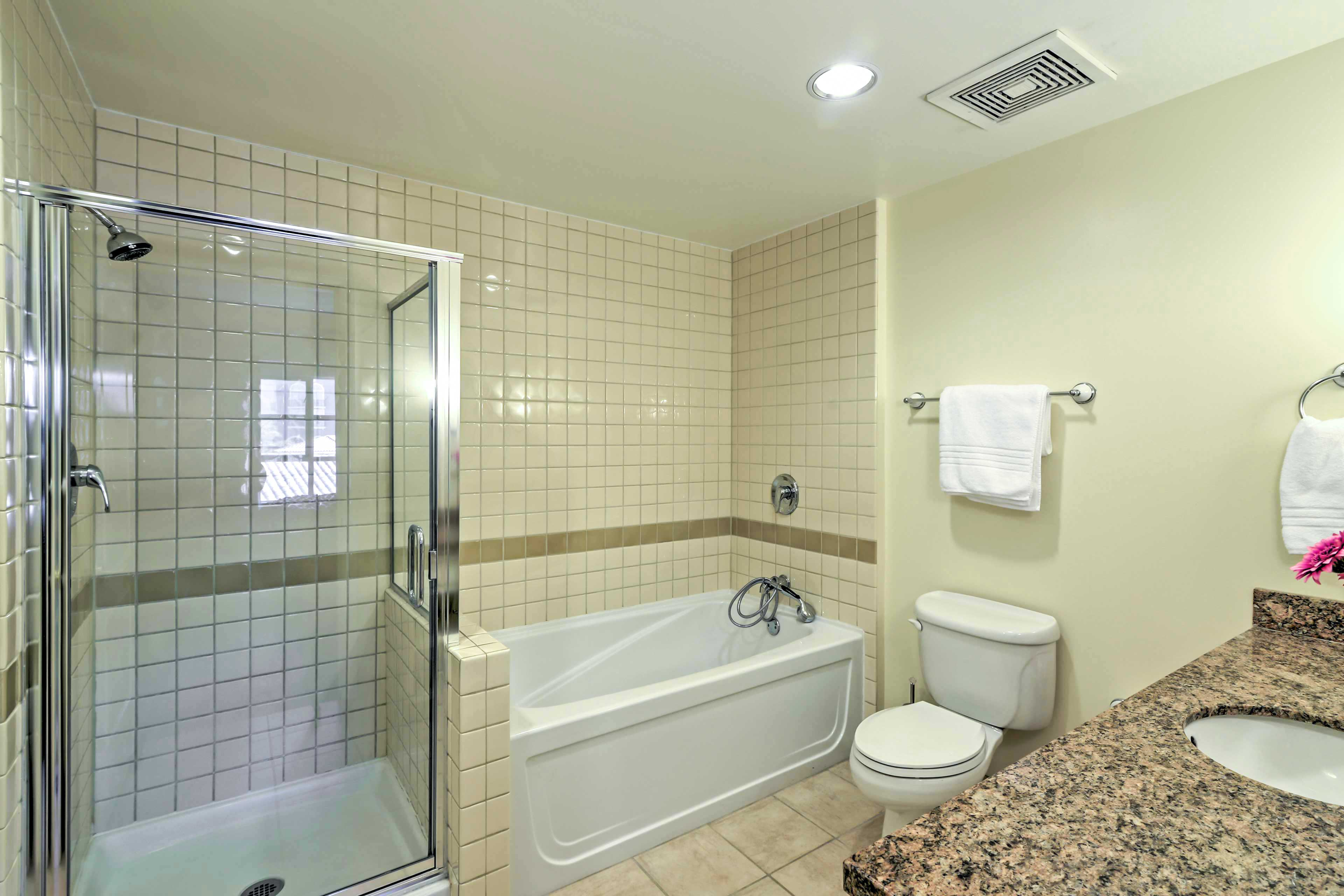 Get ready for the day's events in this pristine full bathroom.