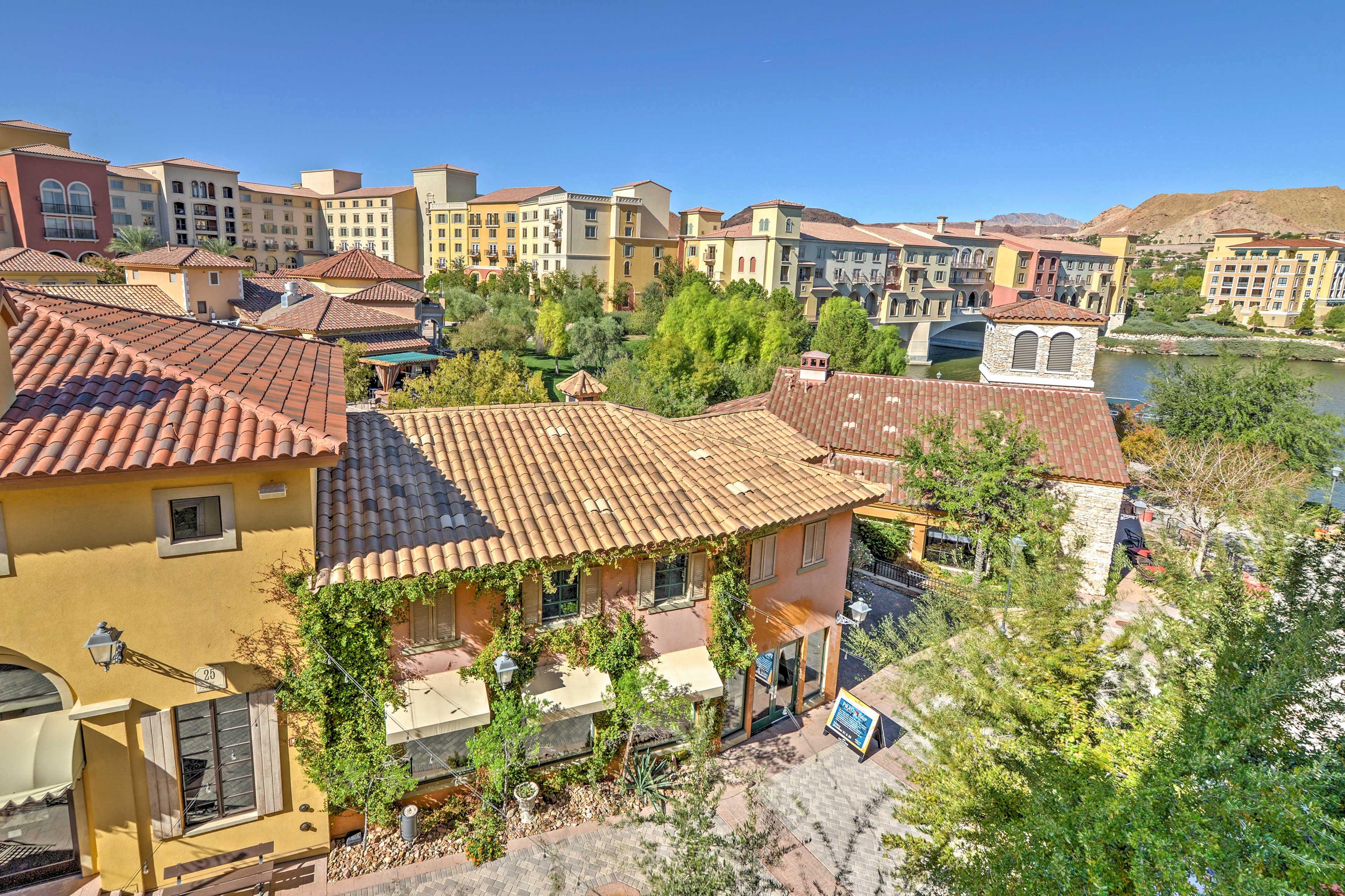 Enjoy the magical balcony view of the 'Ponte Vecchio' bridge replica.