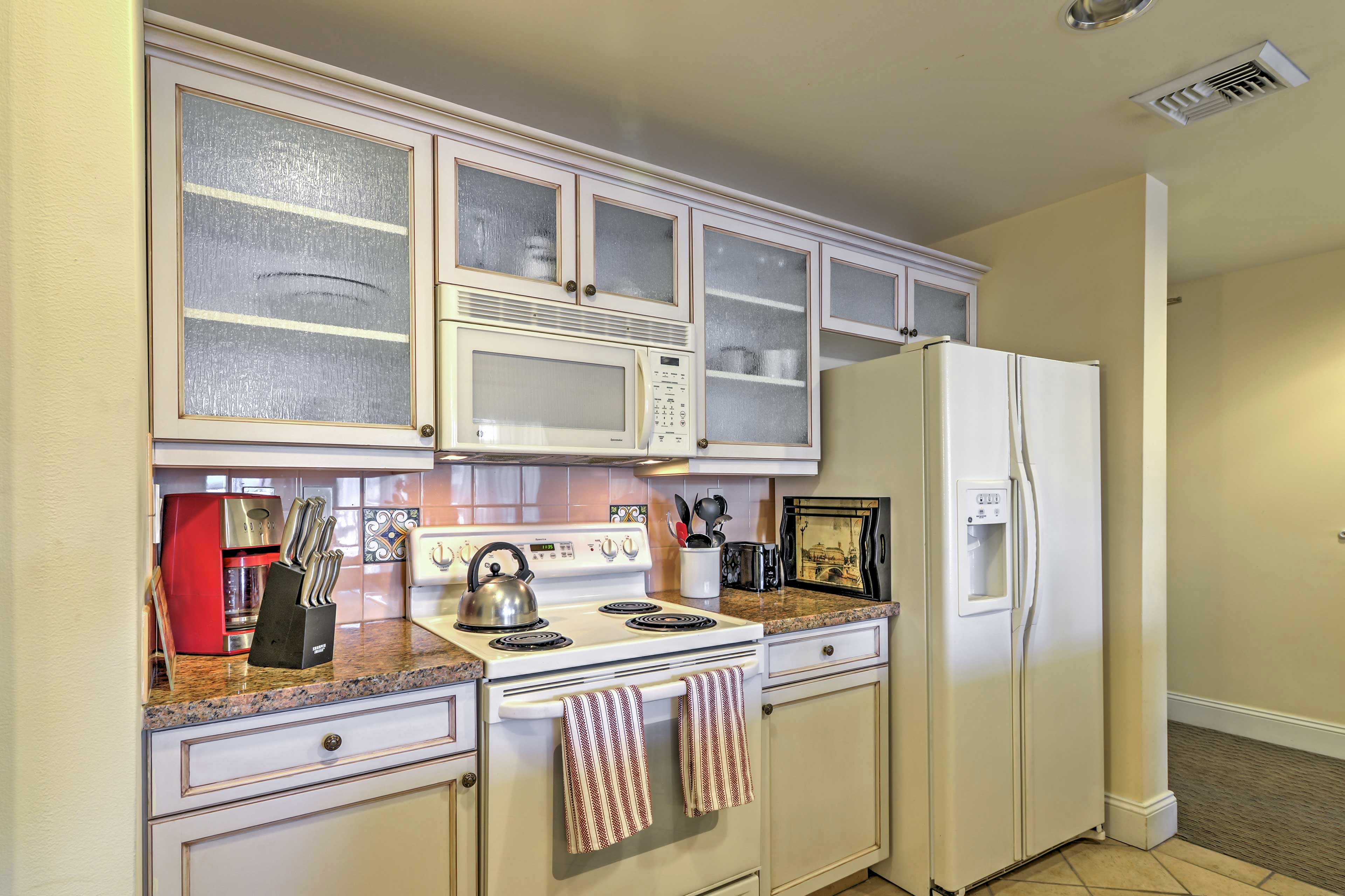 Bring your favorite recipes to life in the fully equipped kitchen.