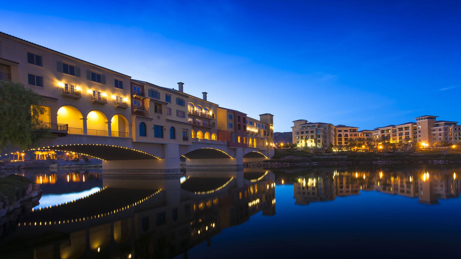 Enjoy views of the famed Ponte Vecchio bridge replica.