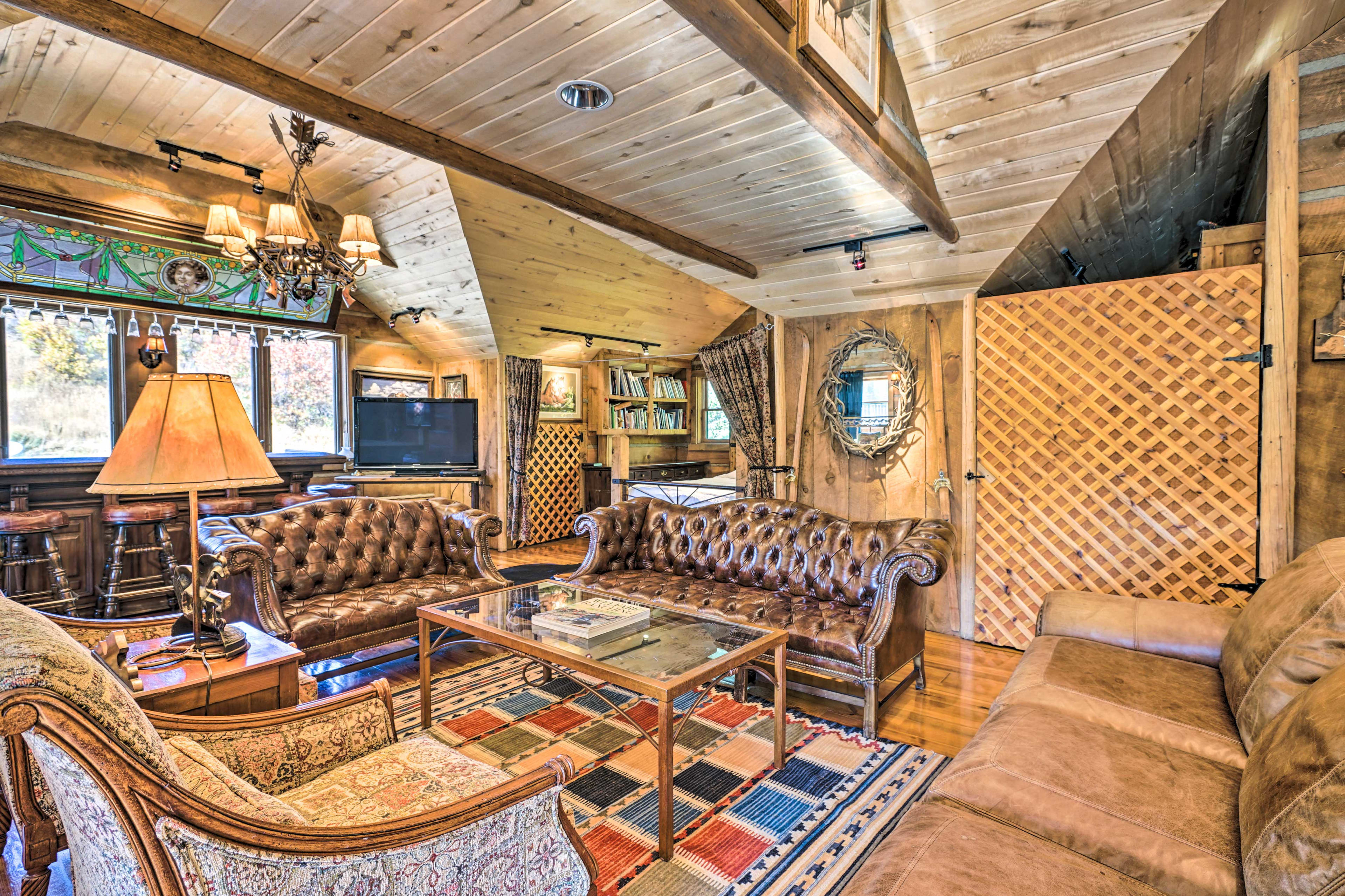Lounge on the comfortable furnishings in the living area.