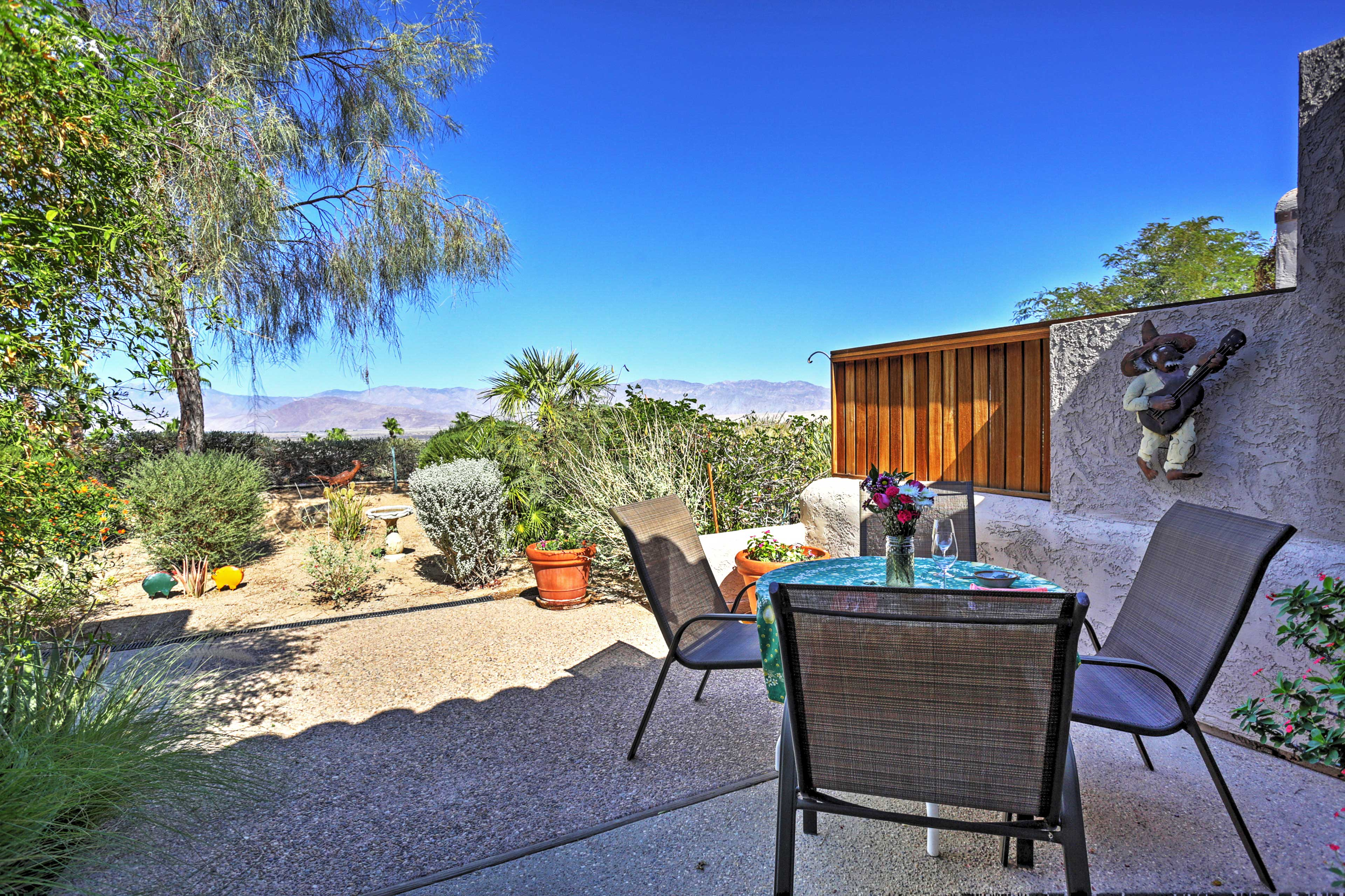 Enjoy dining al fresco with your loved ones on the furnished back patio.
