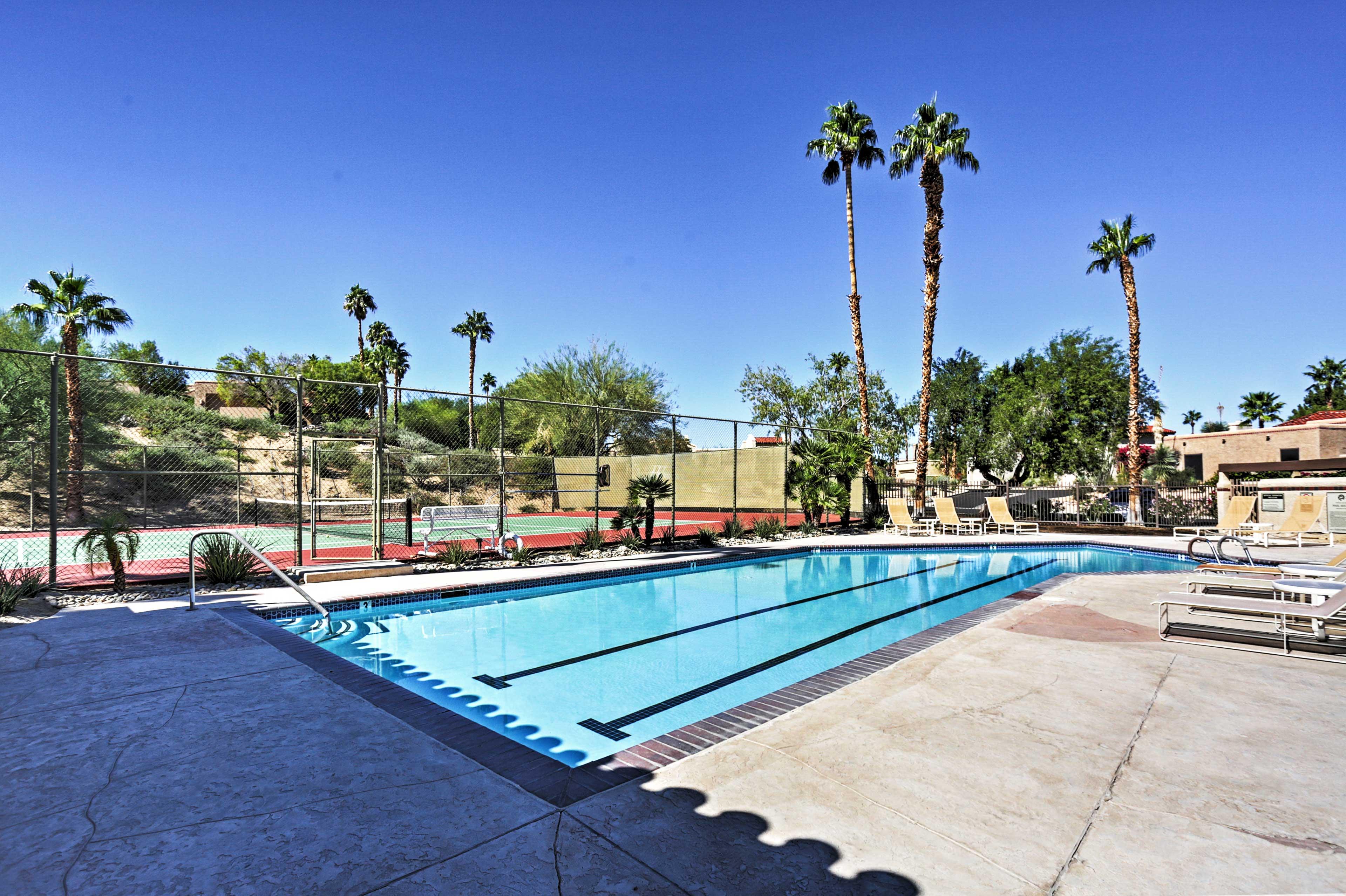 Soak up that California sunshine at the community swimming pool.
