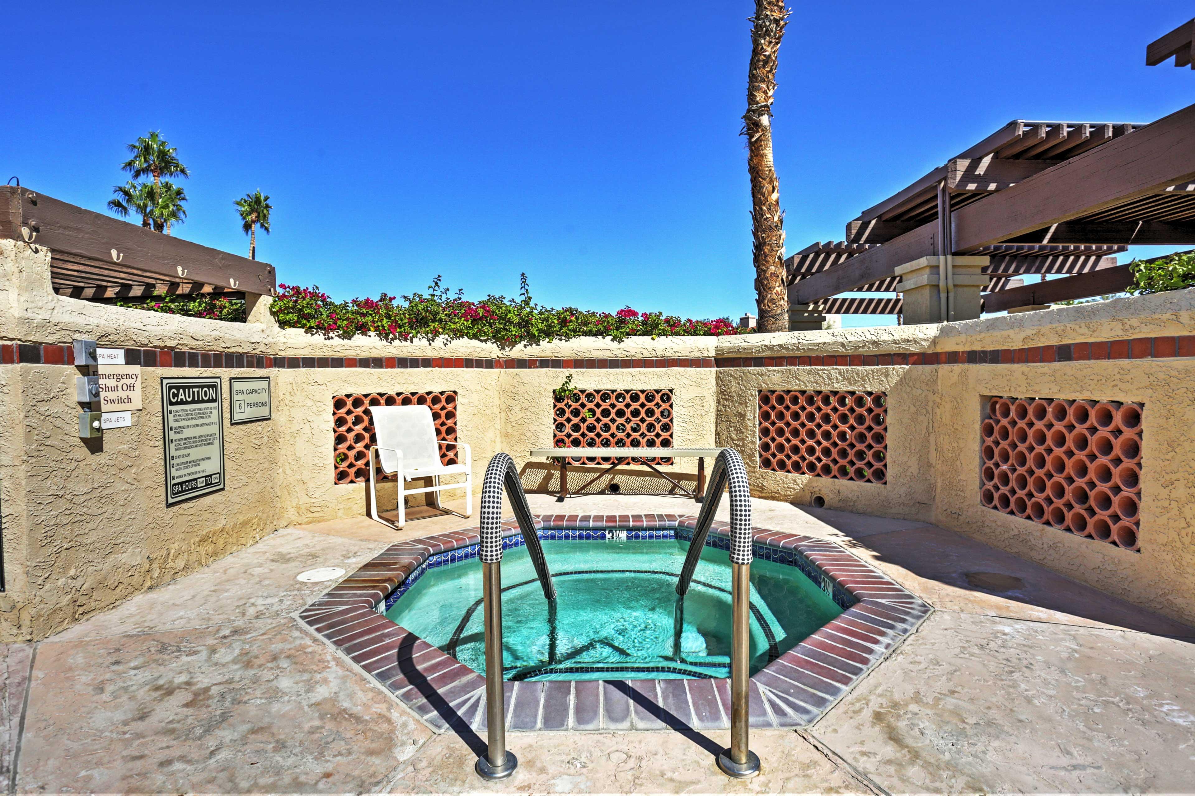 Take a dip in the quaint community hot tub.