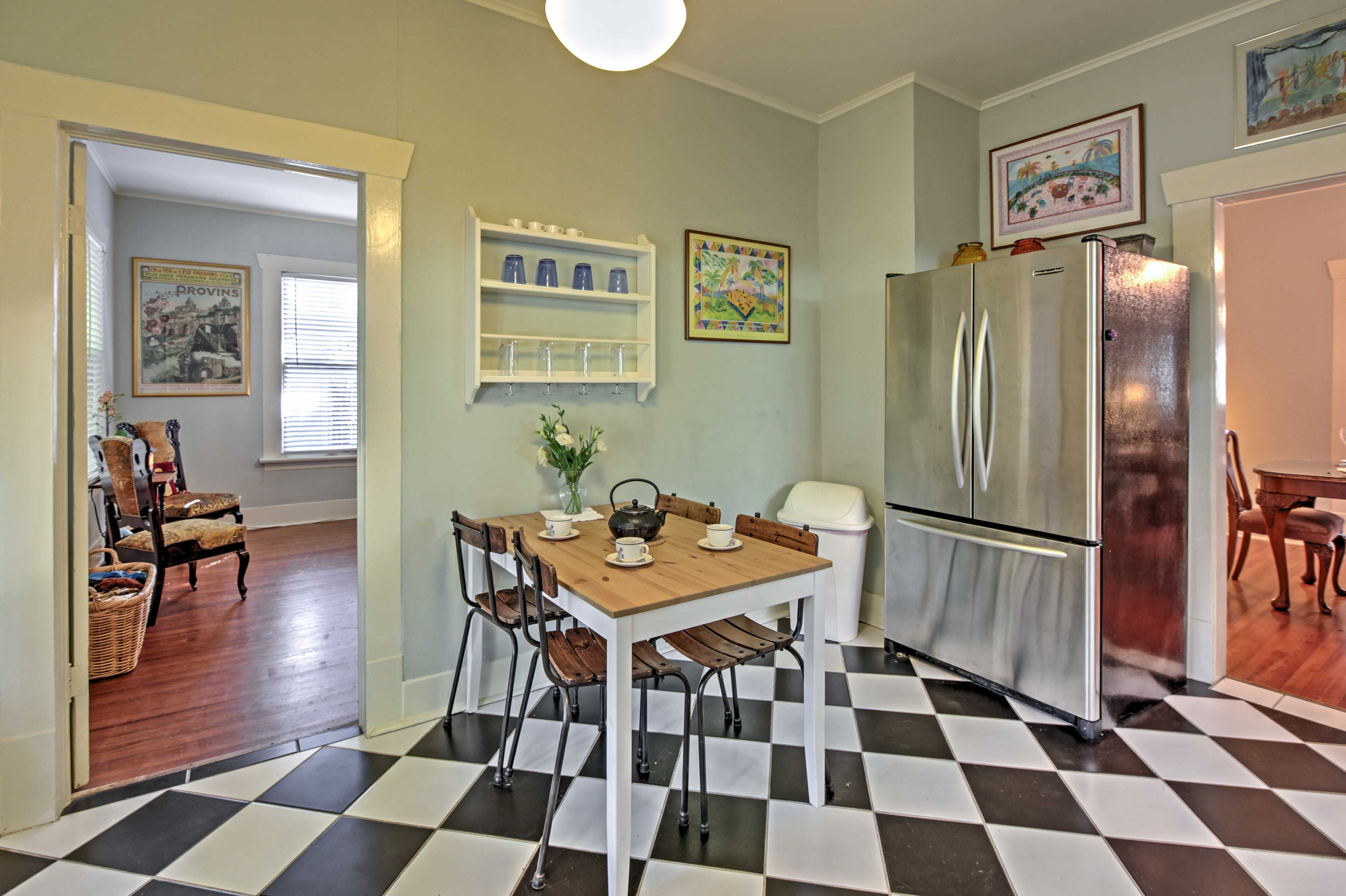 Sip your morning coffee at the quaint kitchen table while breakfast is made.