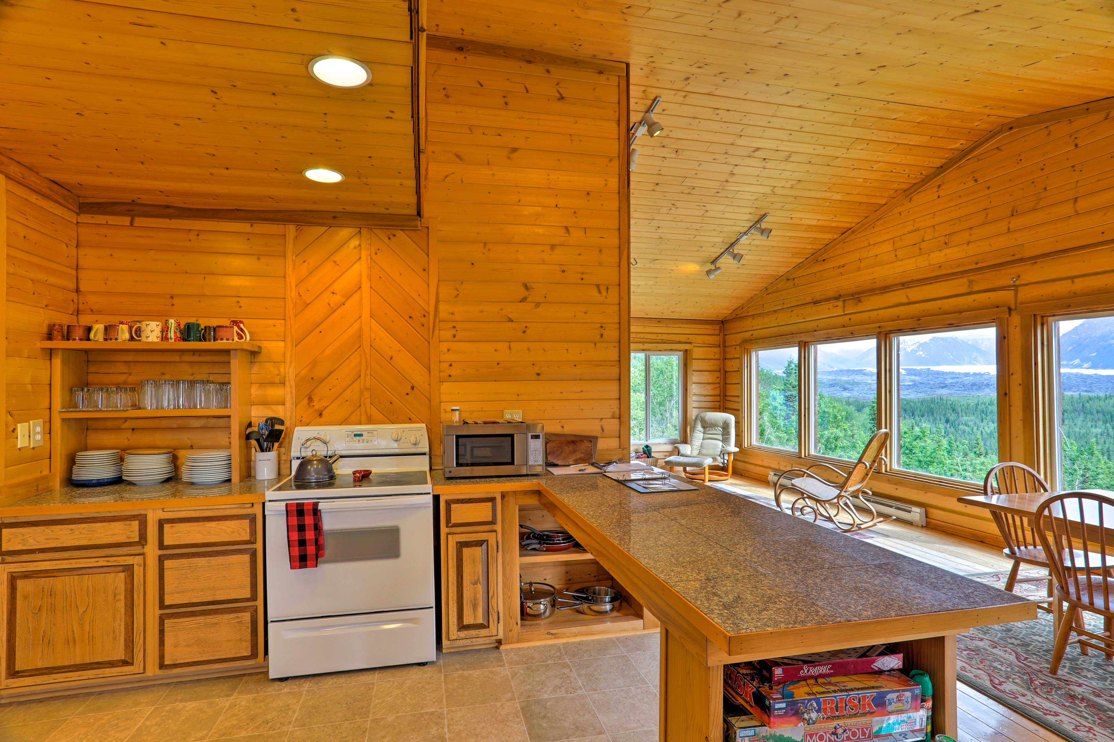 Whip up home-cooked meals in this open, fully equipped kitchen.