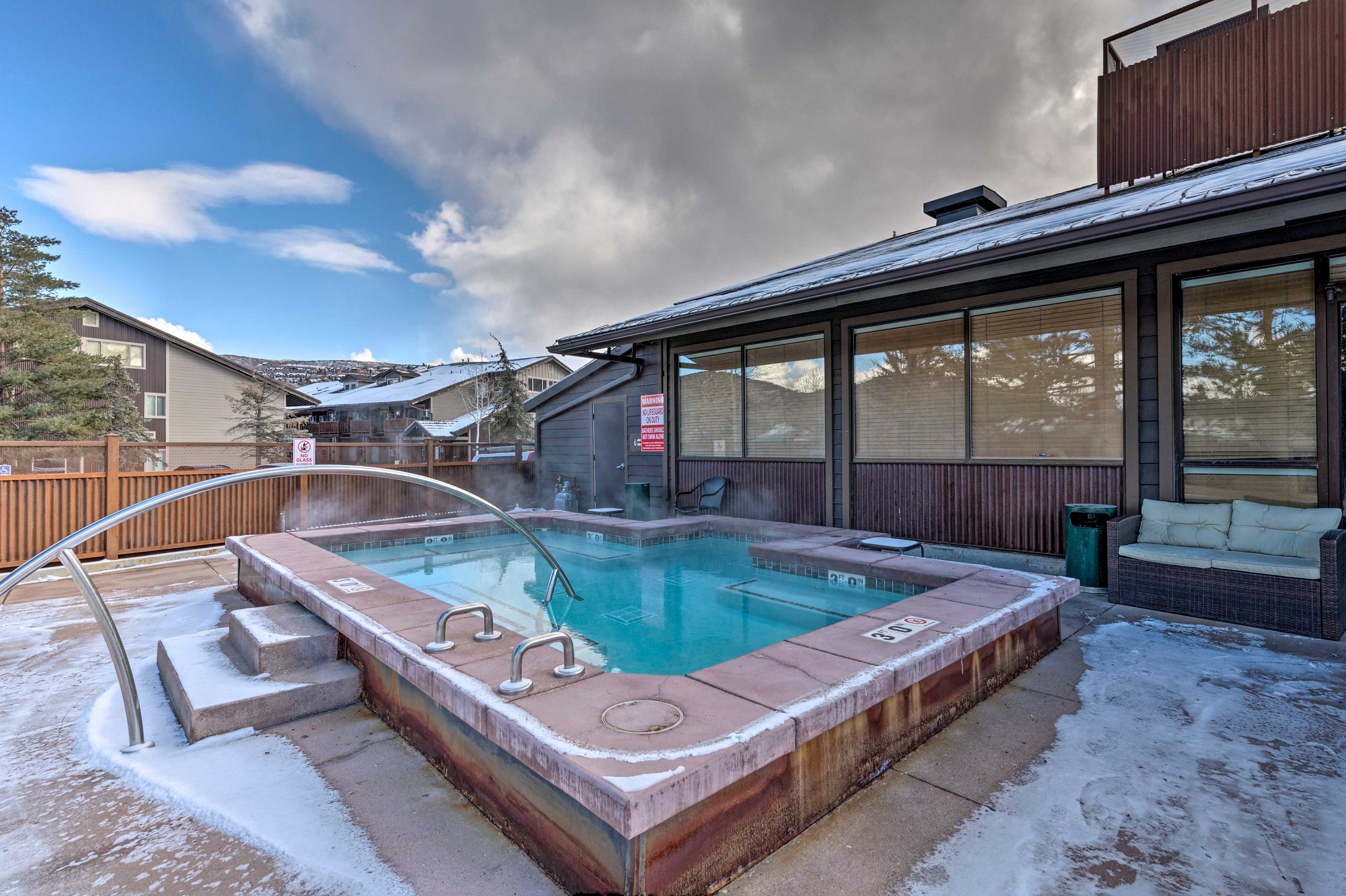 Soothe sore ski muscles with a dip in the hot tub.