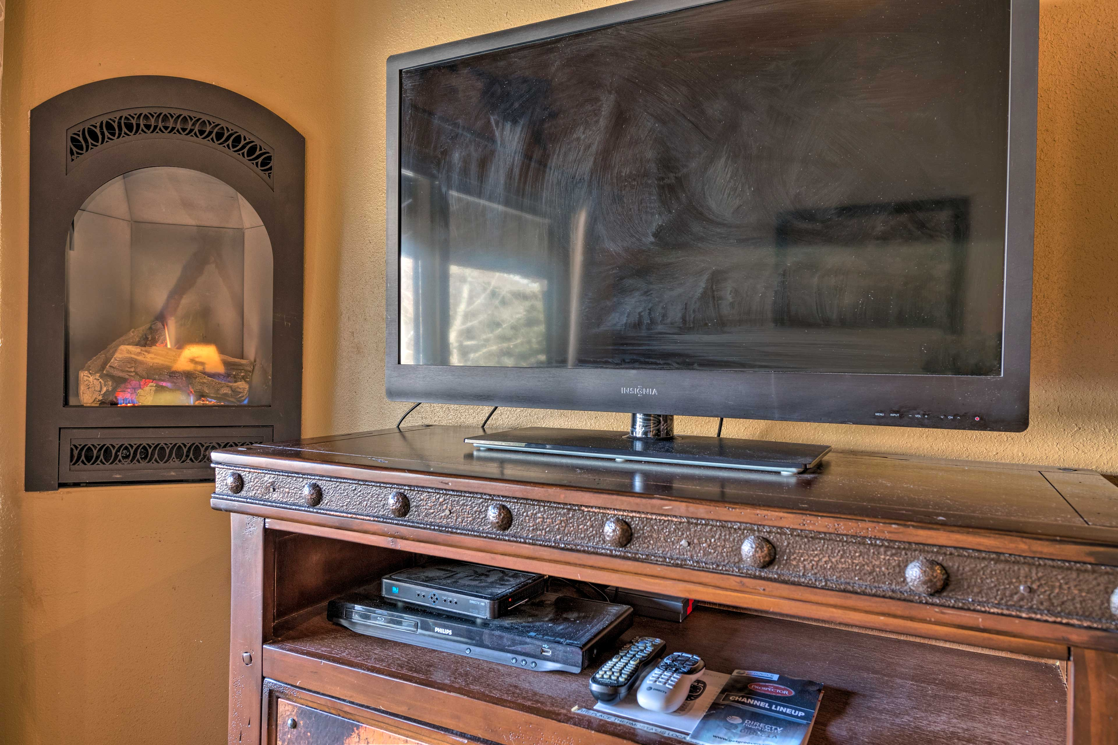 The flat screen cable TV is equipped with a sports package, DVR and Cinemax.