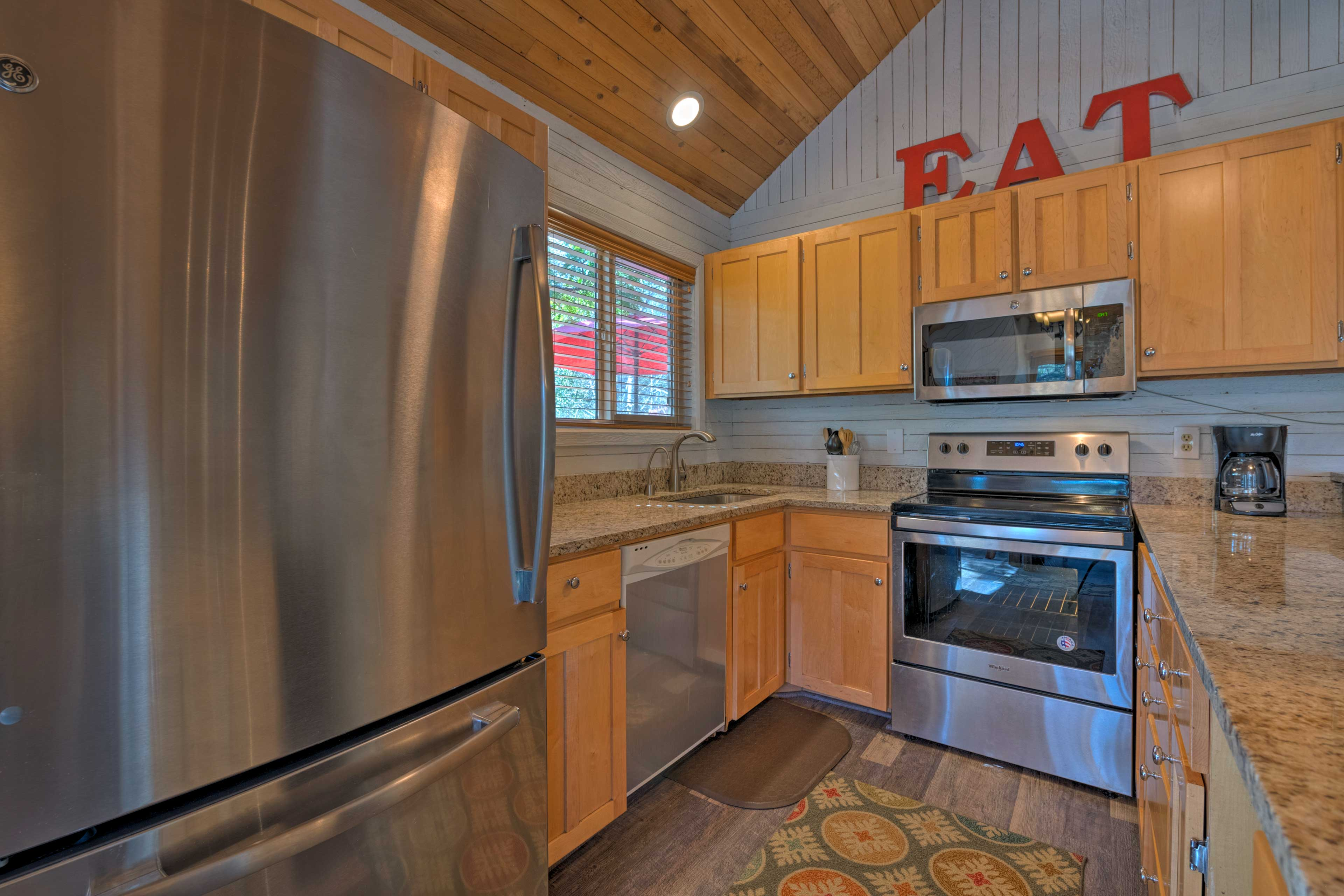 Prepare your favorite meals in the fully equipped stainless steel kitchen.