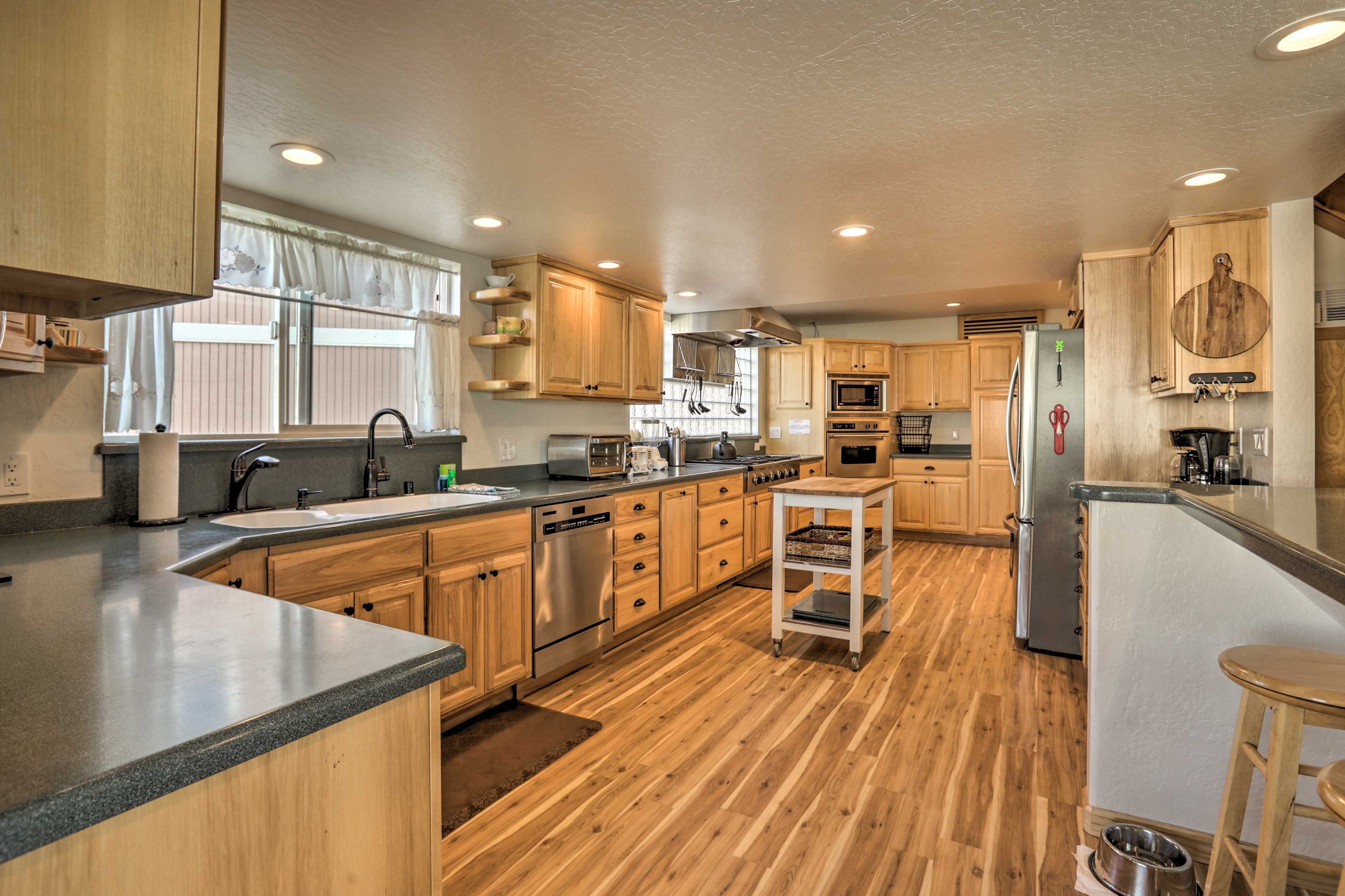 The spacious kitchen makes it easy to prepare meals.