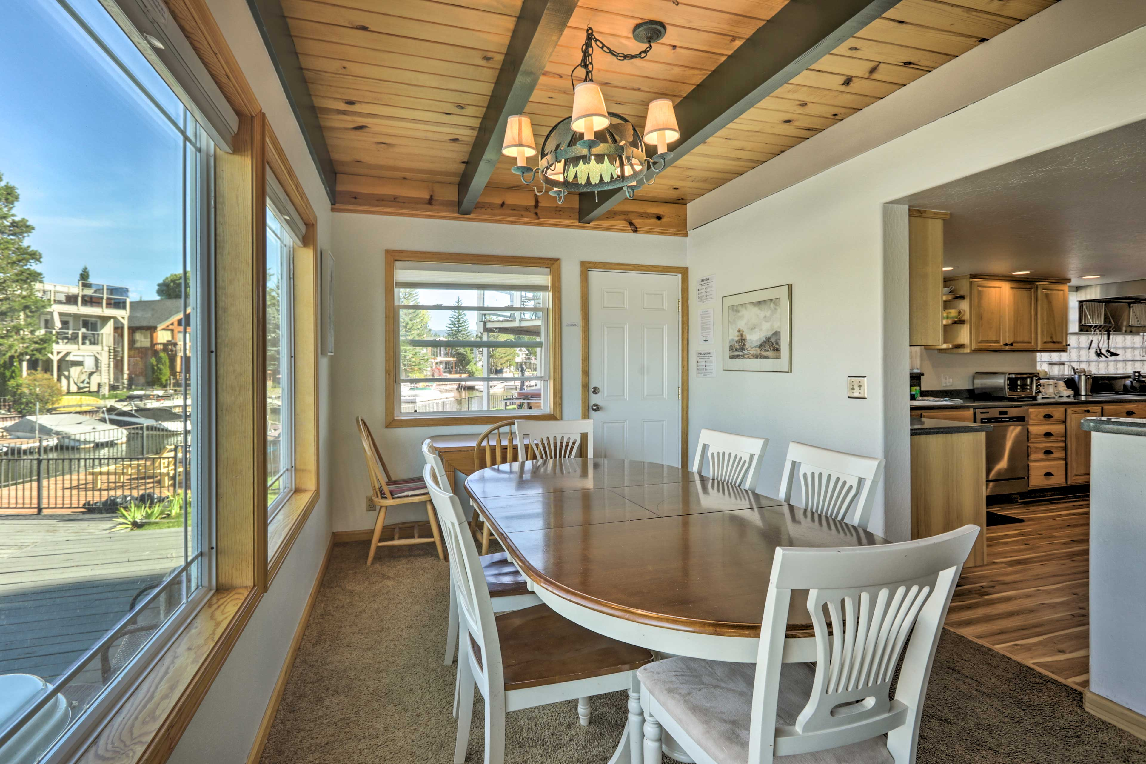 Gather around the dining table for a meal with your family.