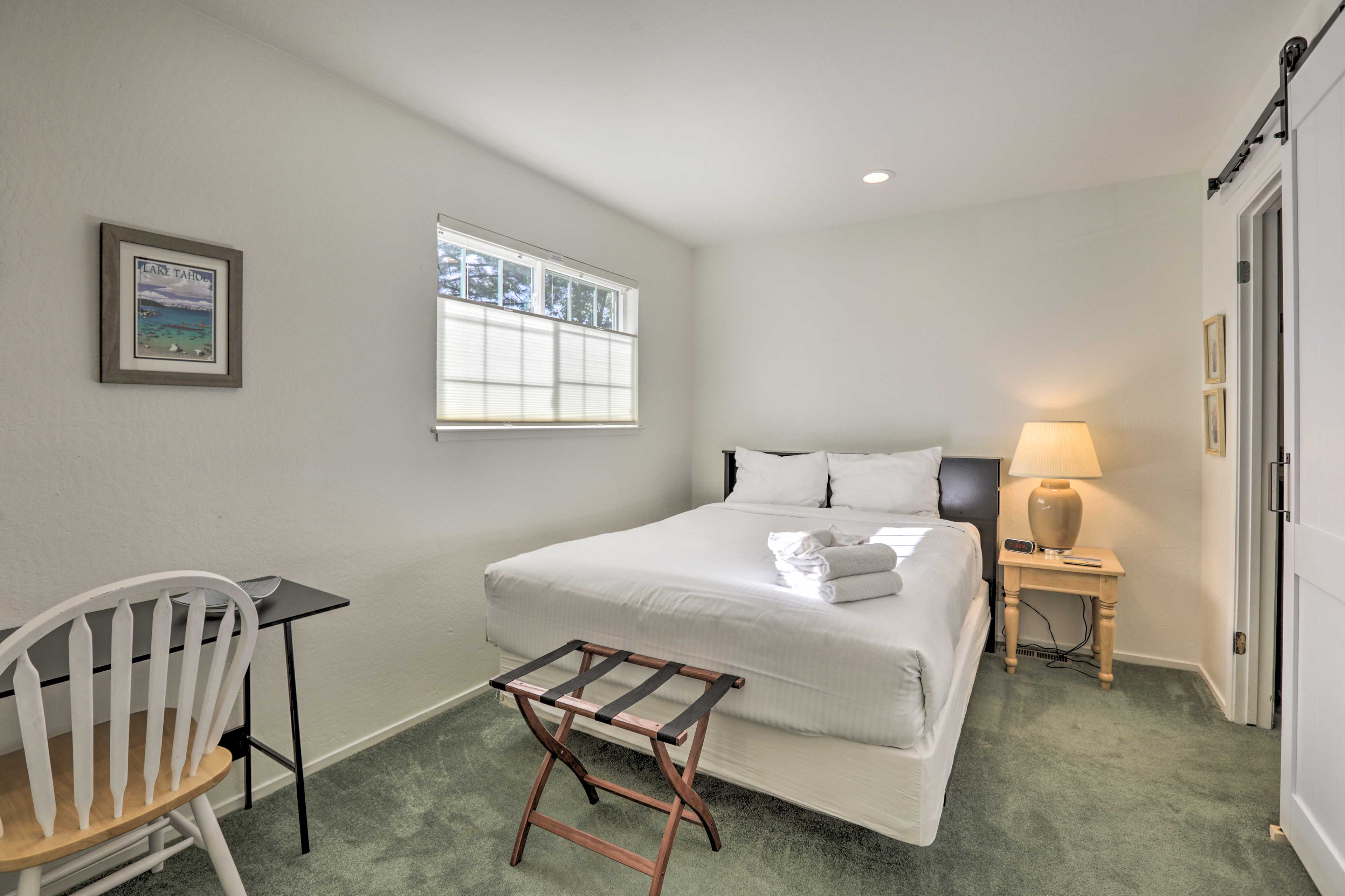 Curl up in this full bed for a good night's rest.