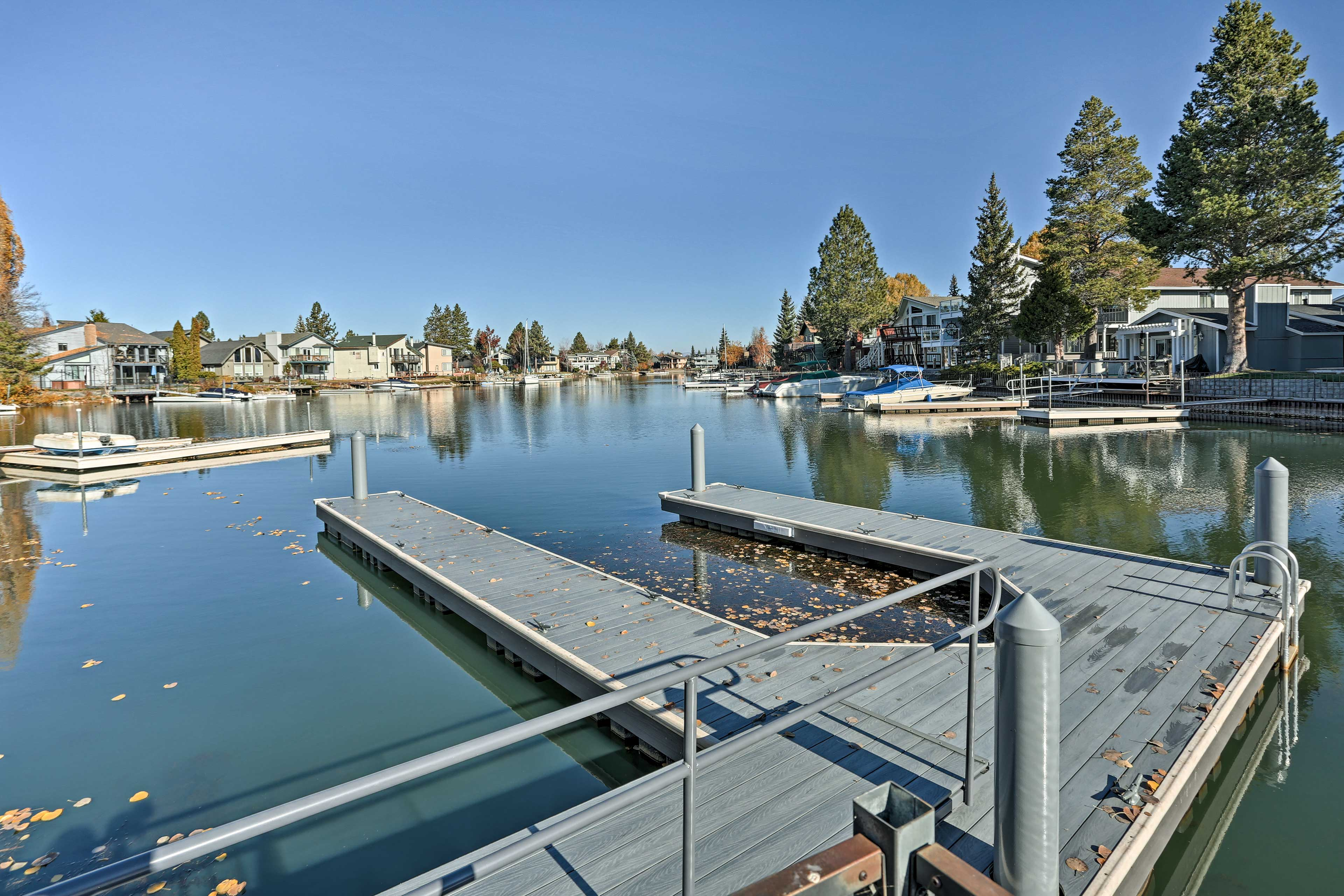 The private dock provides even more convenience for your lake retreat!