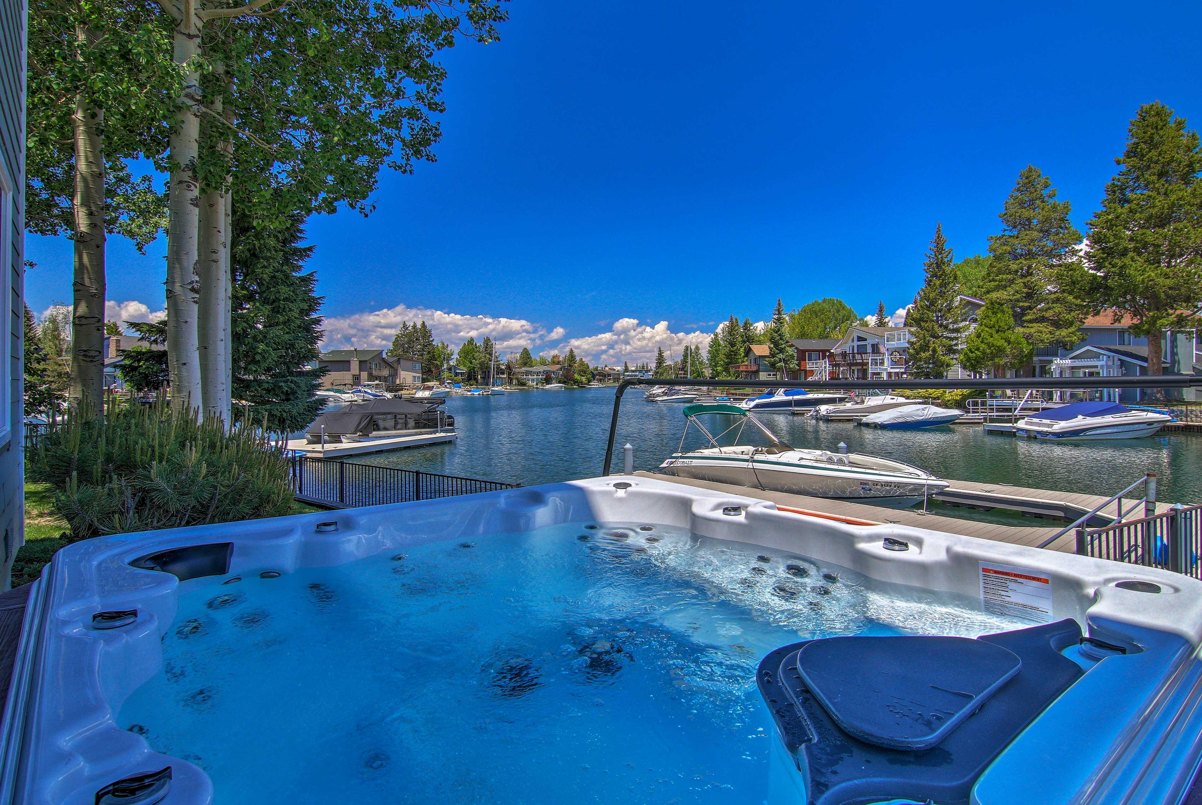 Enjoy a hot tub soak with a view.