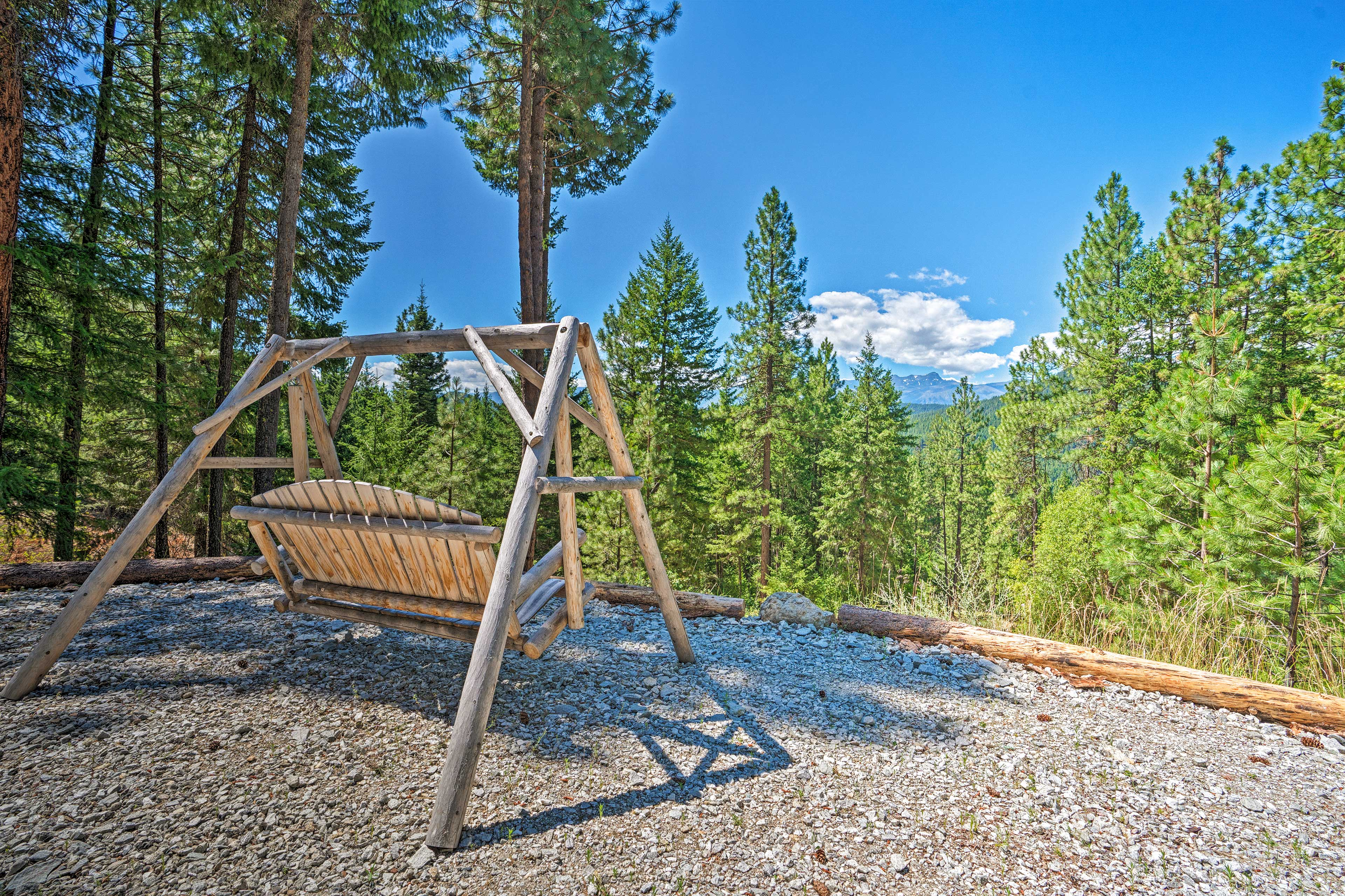 Rock your cares away on the bench swing.