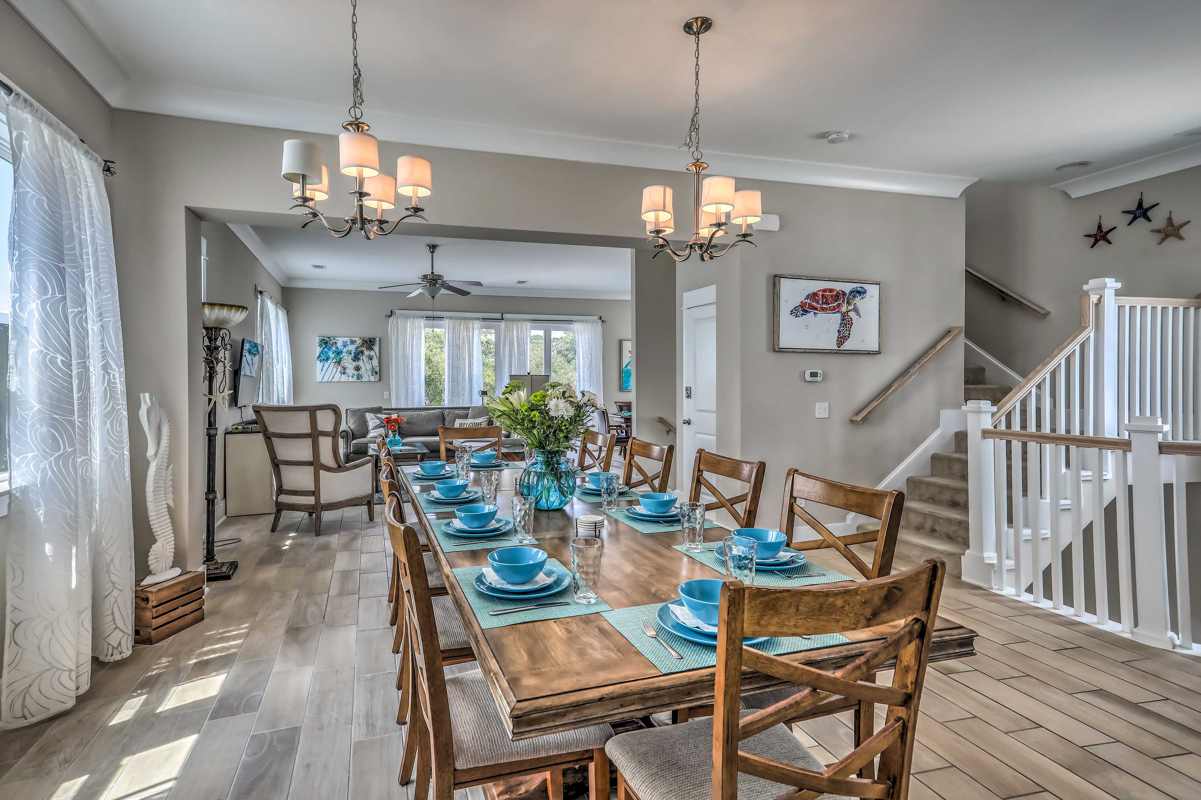 Enjoy tasty home-cooked meals gathered around the spacious dining room table.