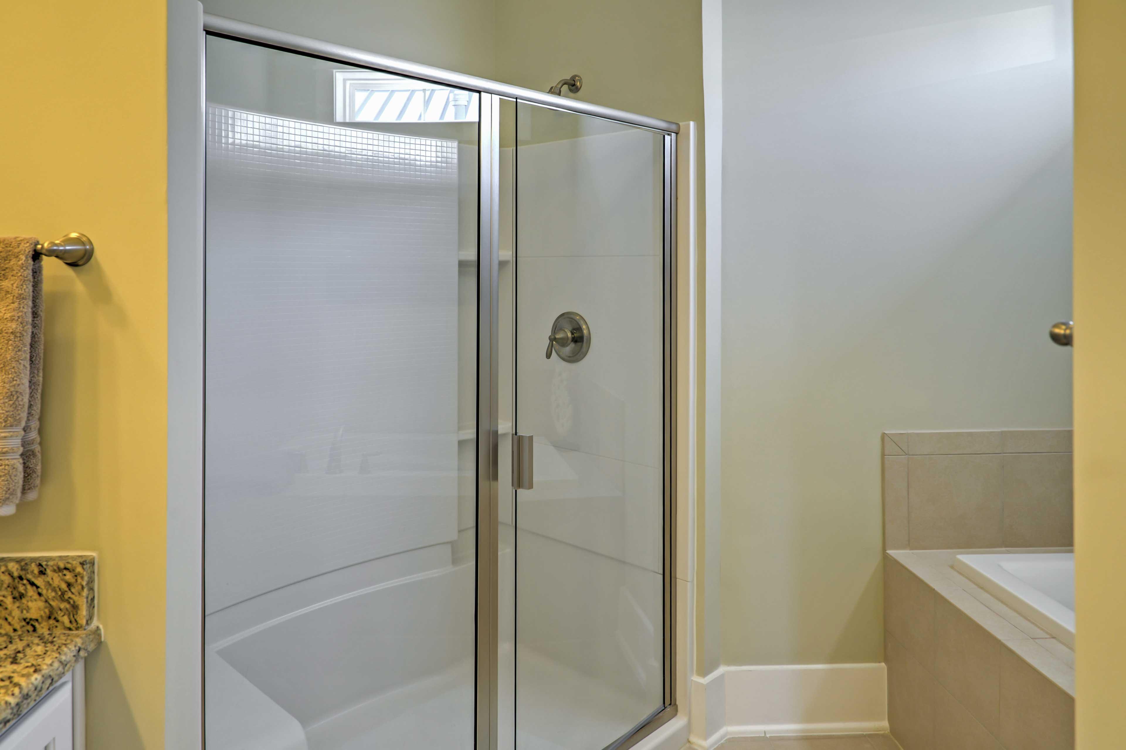 Rinse off in the pristine walk-in shower.