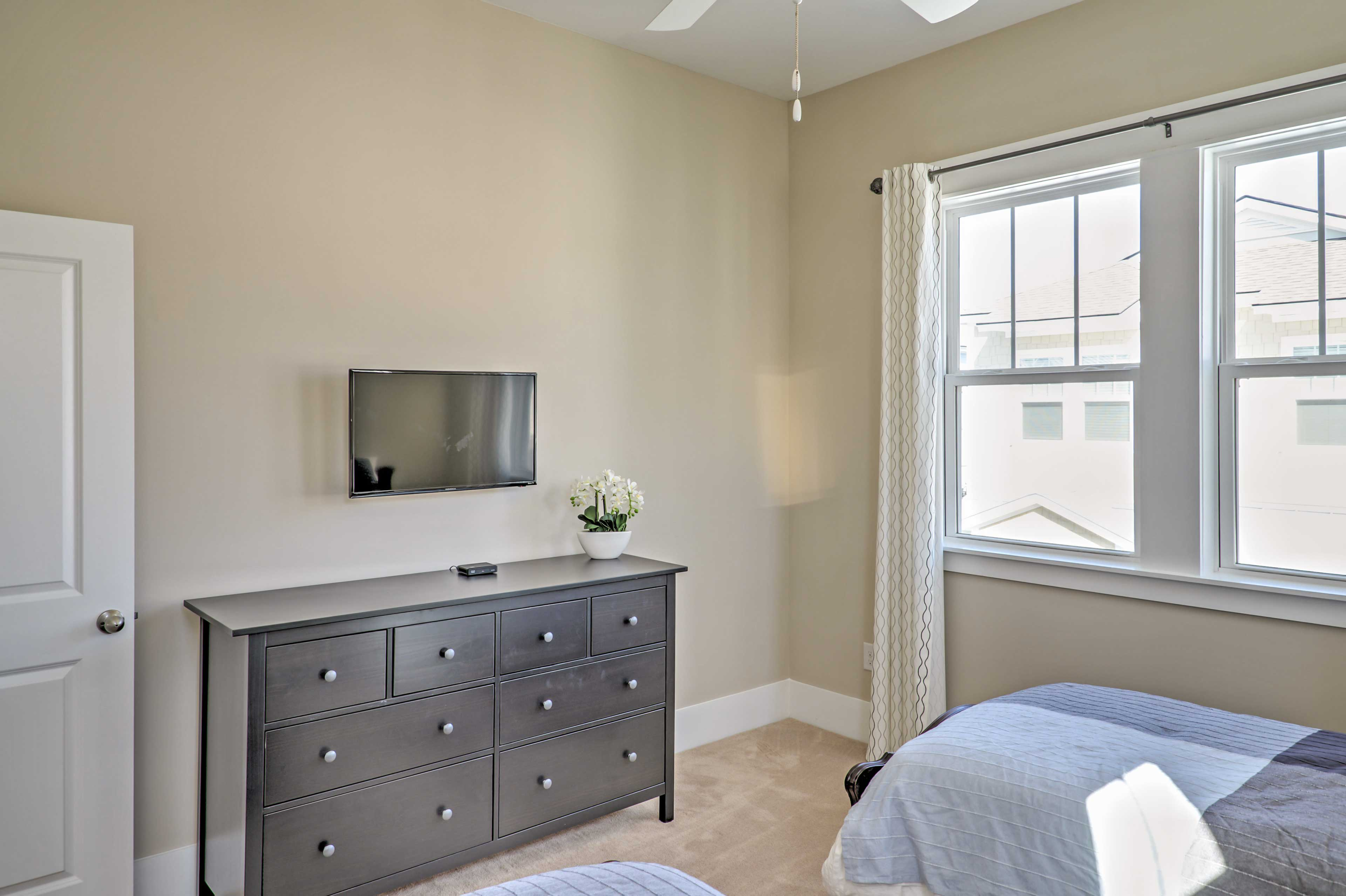 A flat screen Smart TV with cable and Netflix is available in every bedroom!