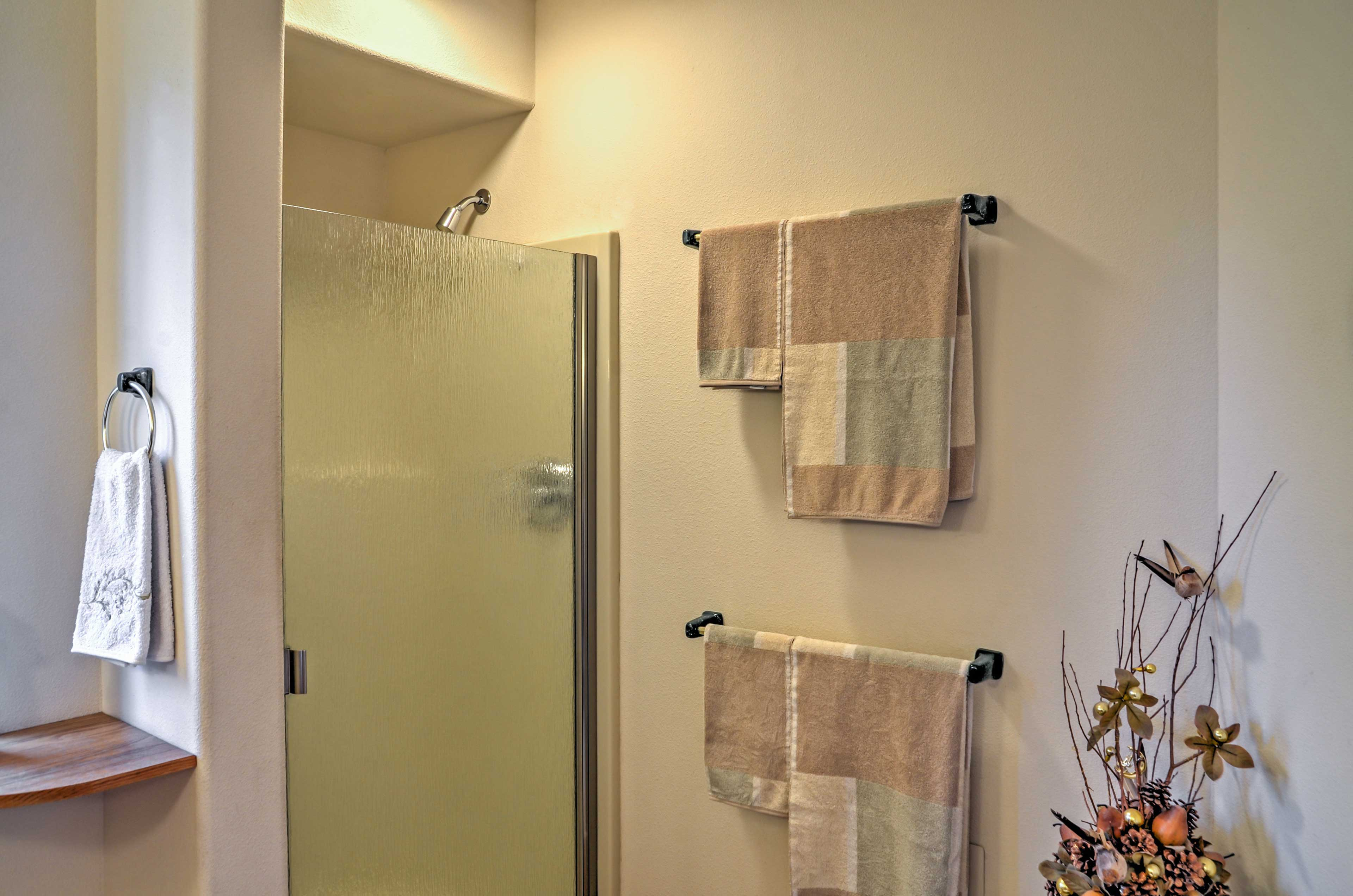 After your outdoor activities, rinse off in the walk-in shower.