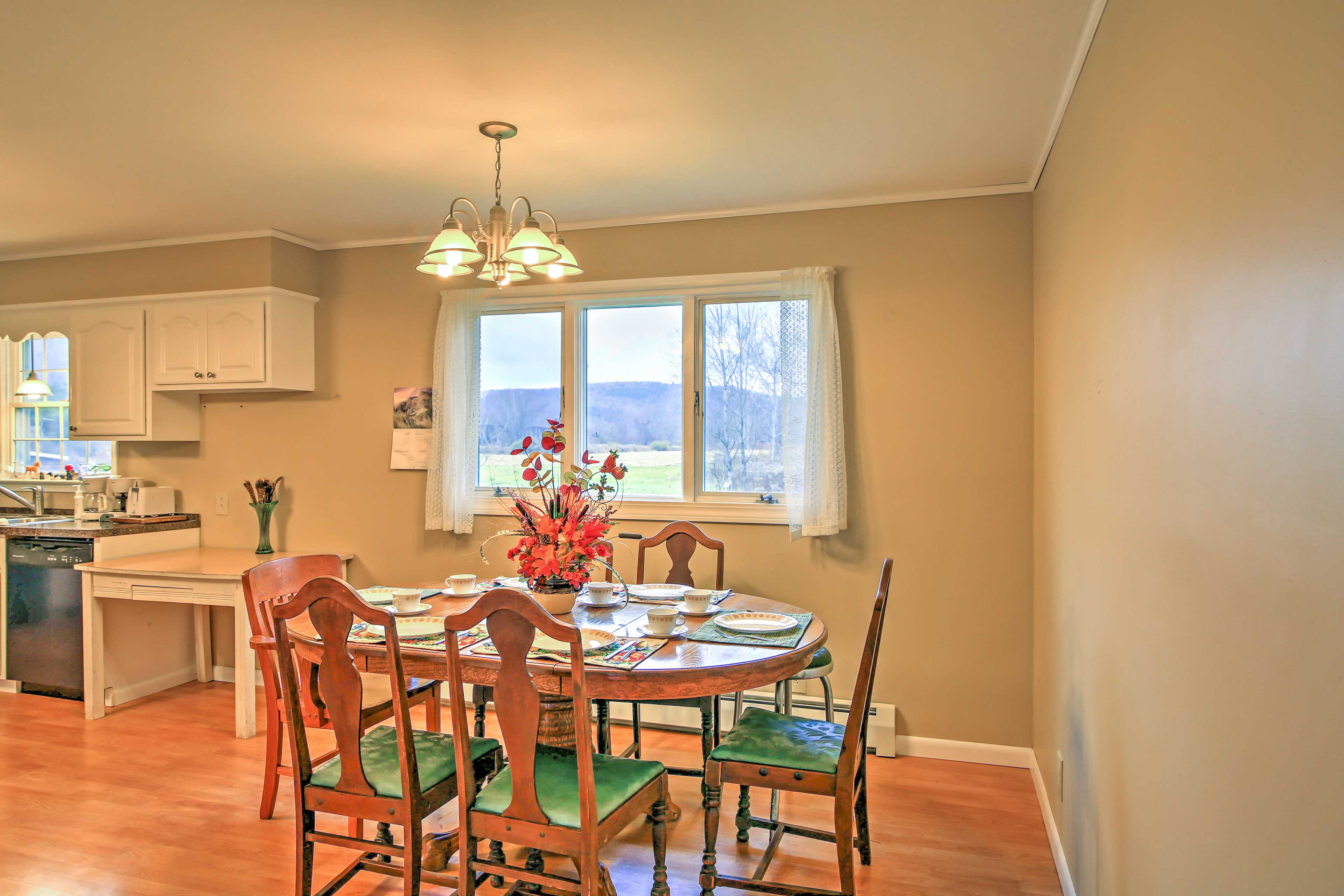 Gather around the dining table to savor tasty home-cooked meals.