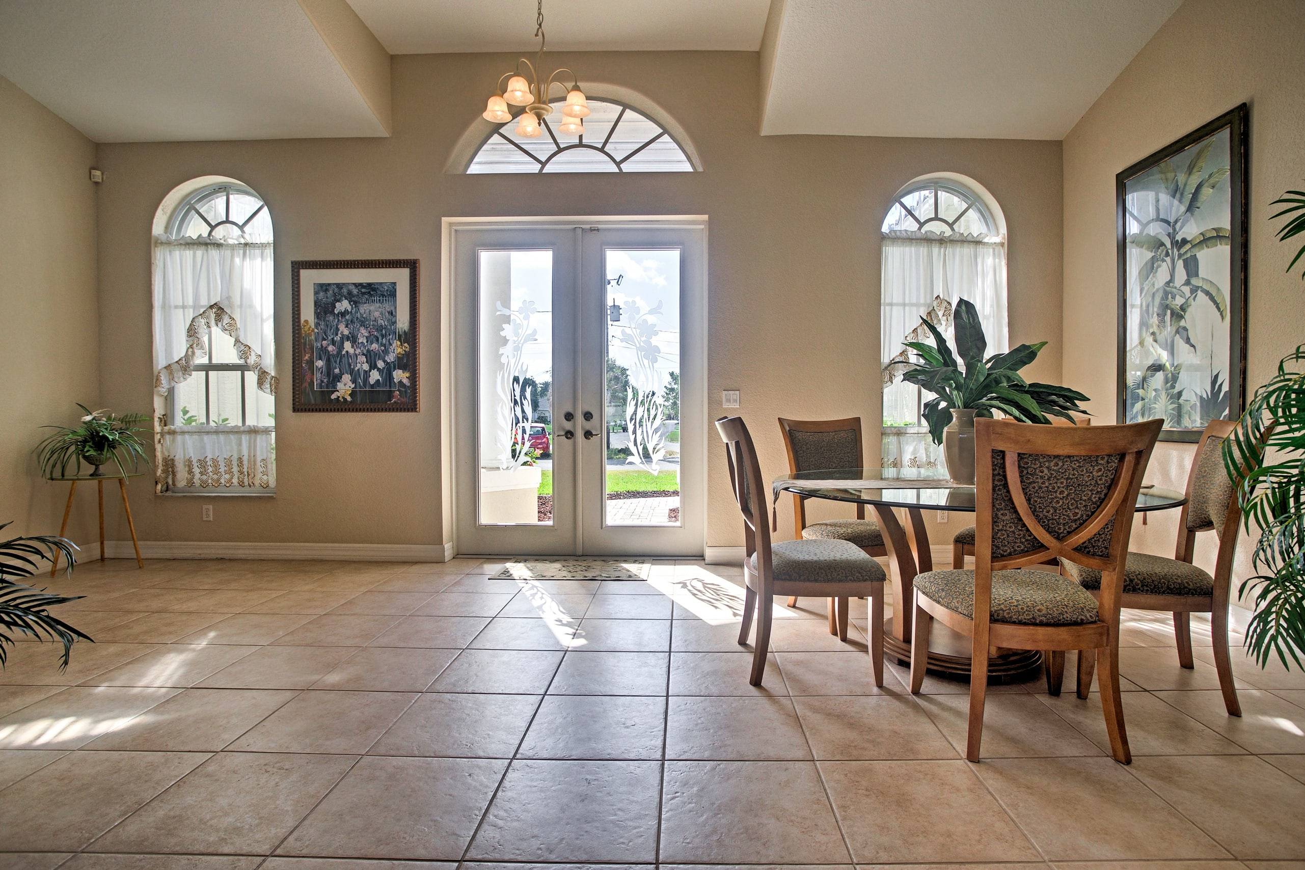 Enjoy gazing out at the peaceful residential neighborhood.