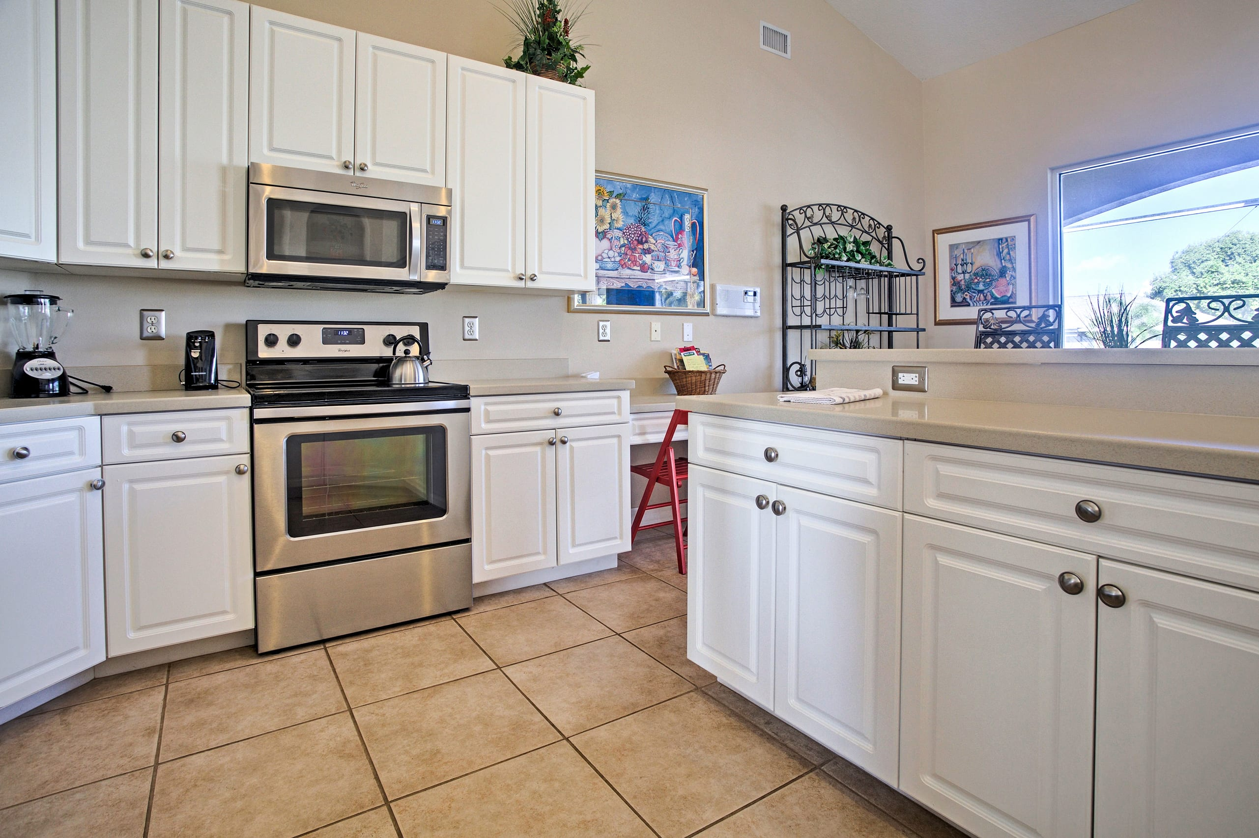 You'll love this fully equipped kitchen with lots of counter space.