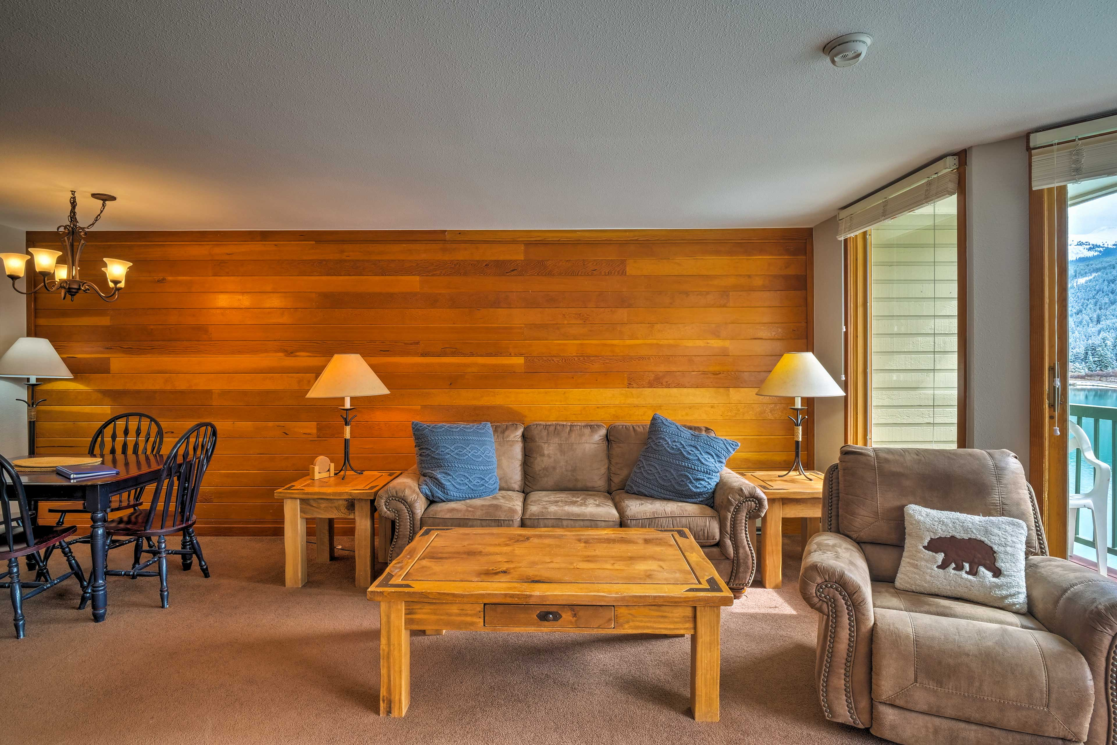 The spacious living area provides room to kick back and relax during downtime.