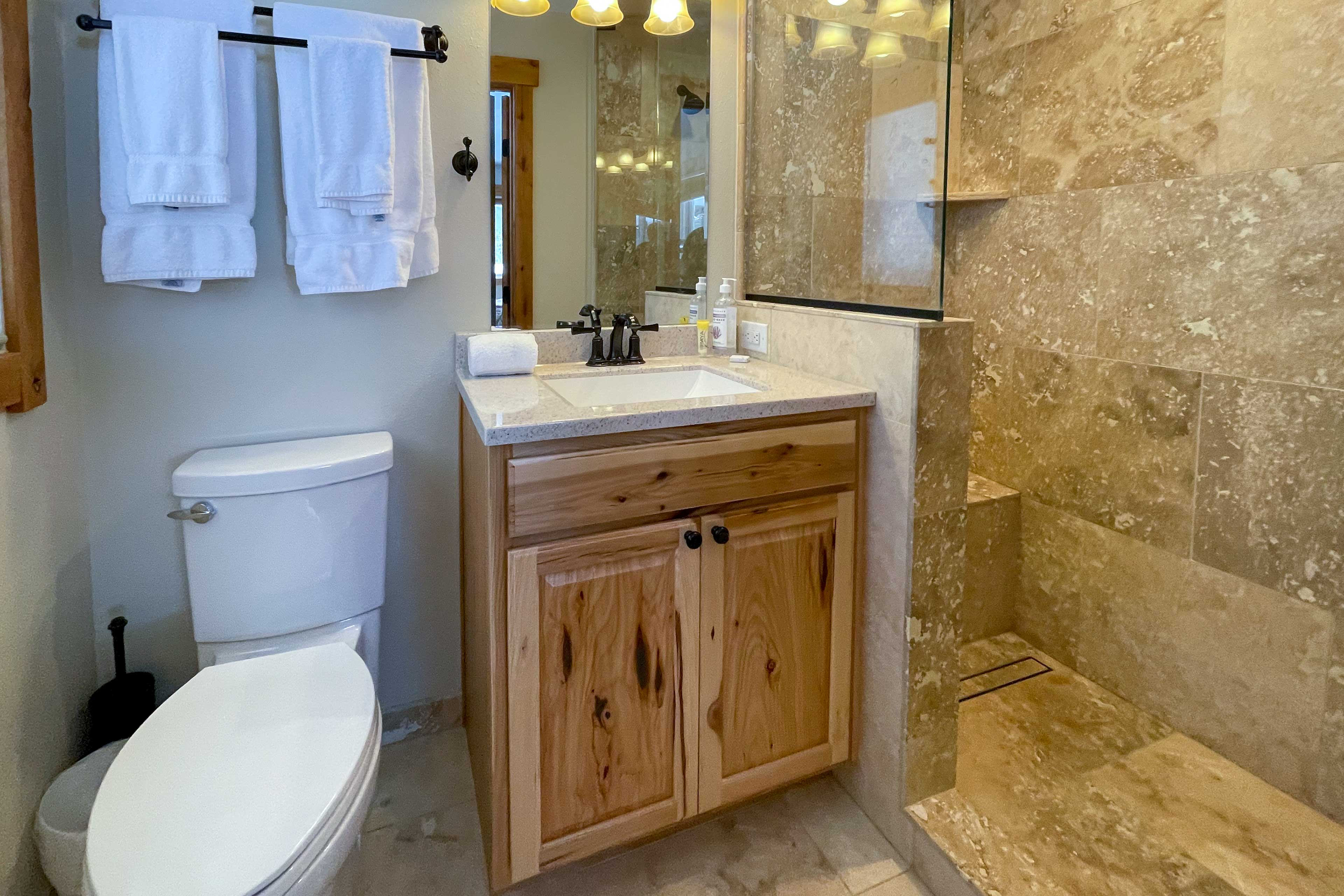 Freshen up in this newly remodeled bathroom.