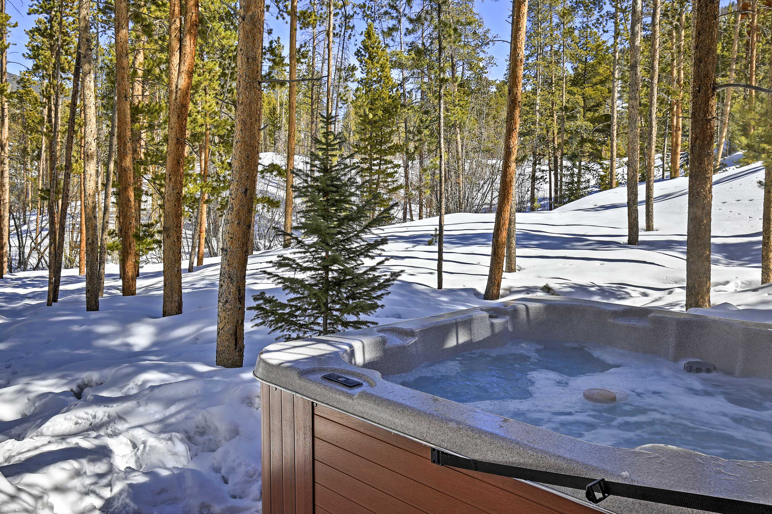 Take a soothing soak in the hot tub!