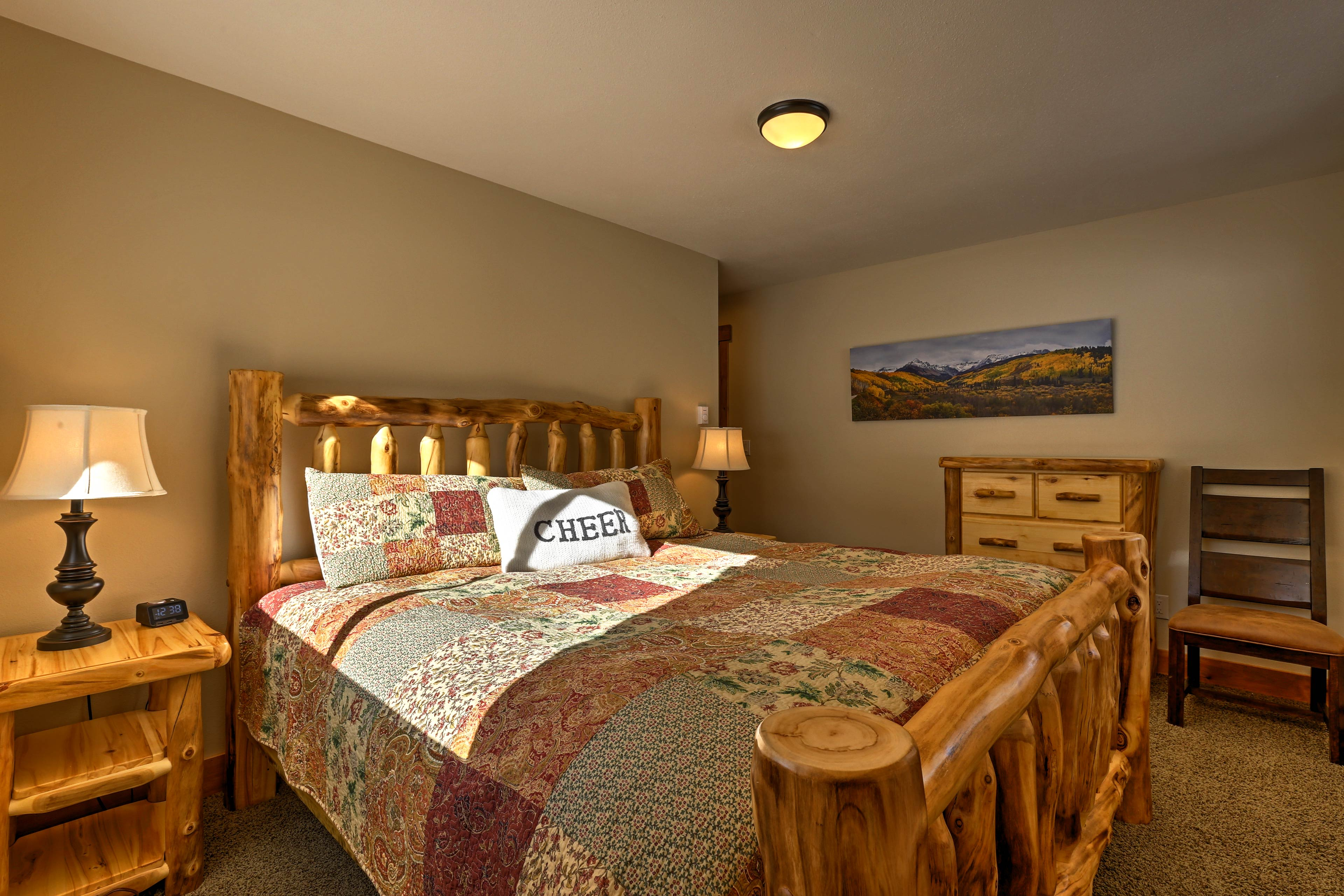 The second bedroom features a king bed as well.