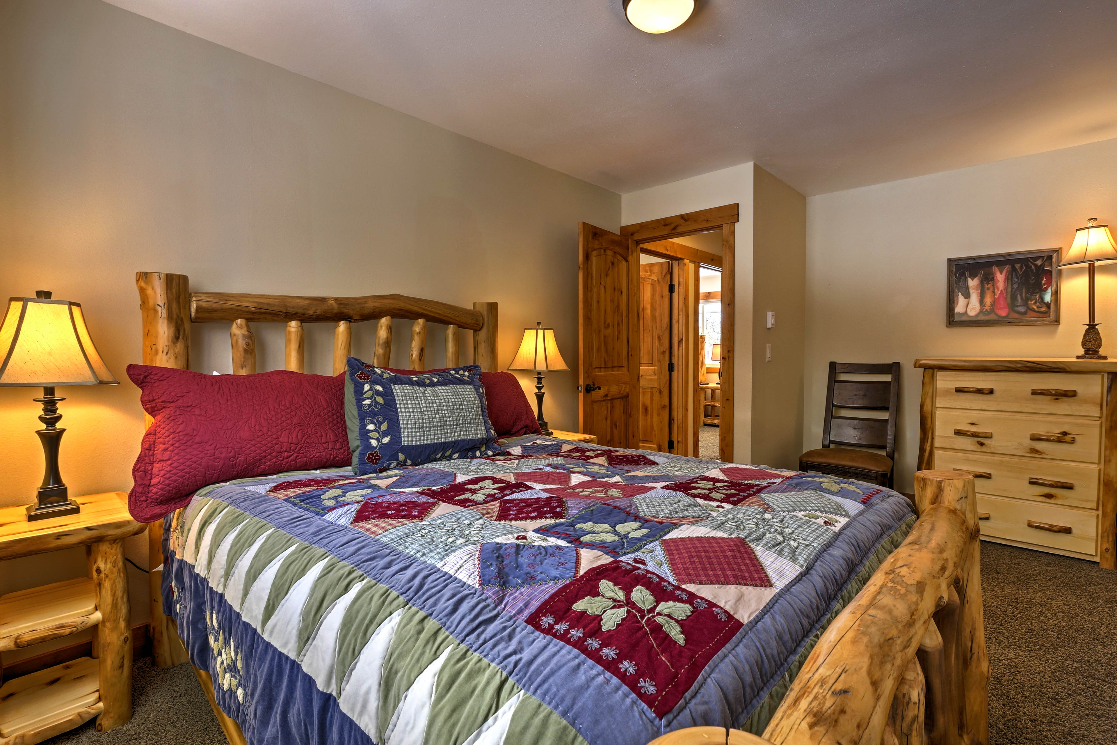 Enjoy a restful night on the king bed in the master bedroom.