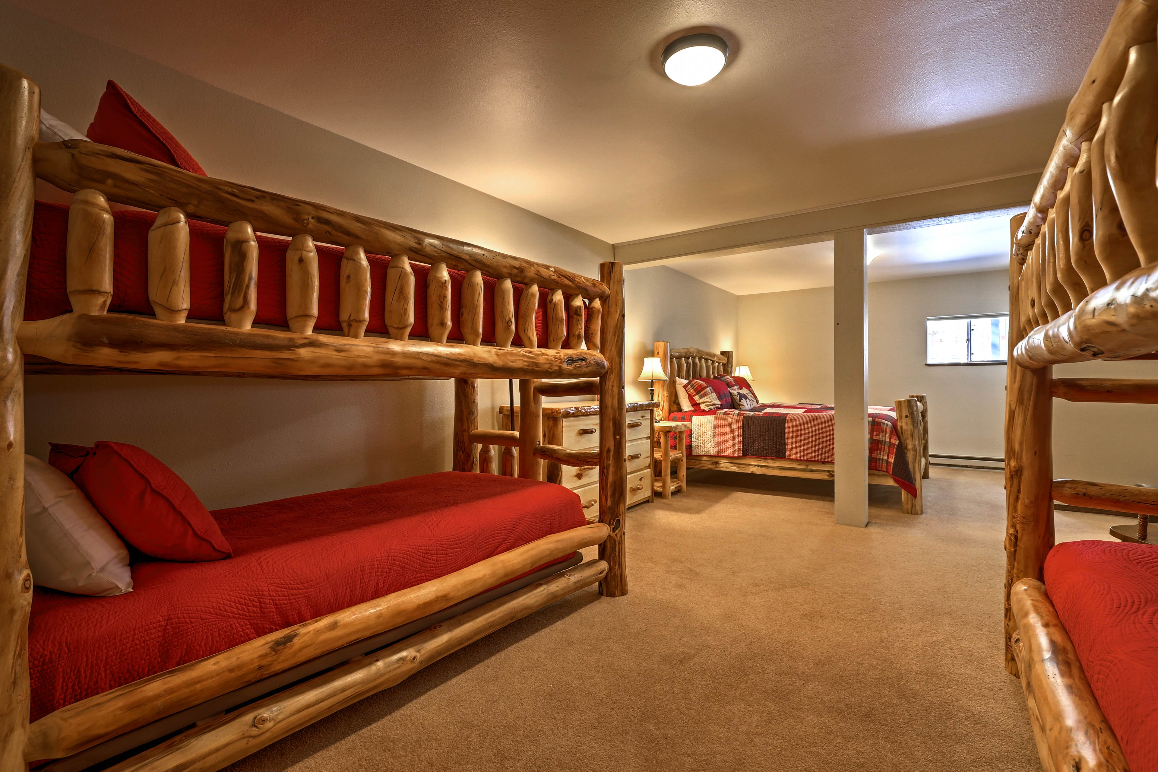 This bedroom offers space for up to 6 guests.