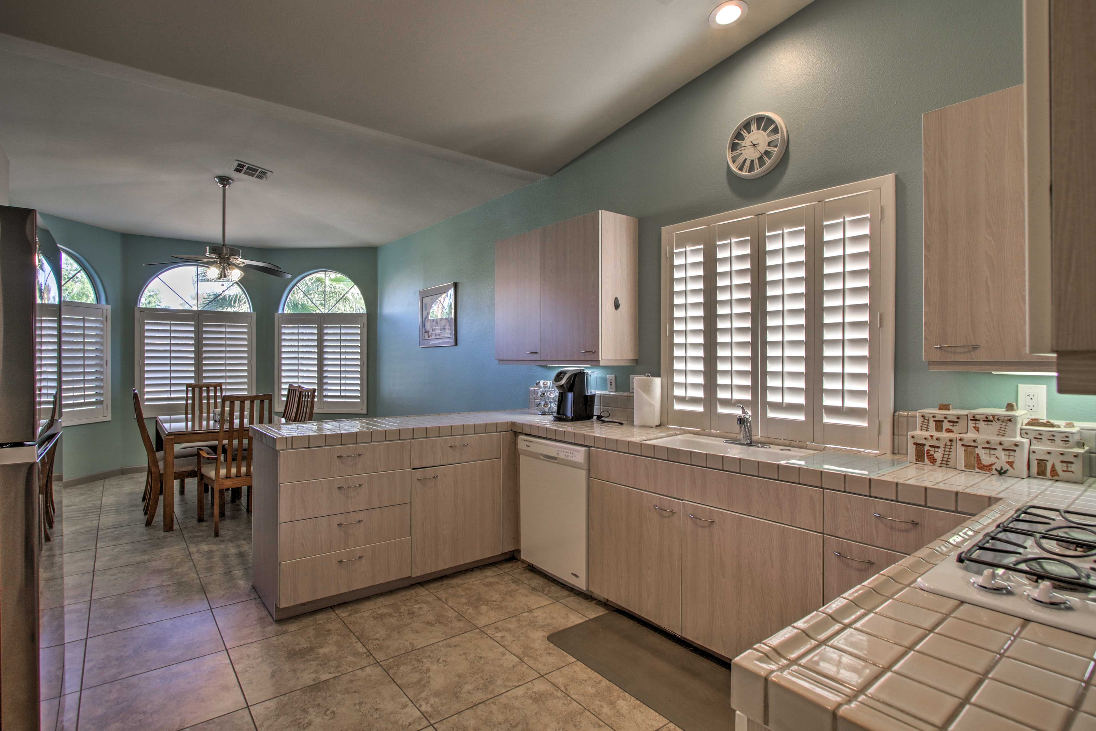 The fully equipped kitchen is perfect for preparing tasty recipes.