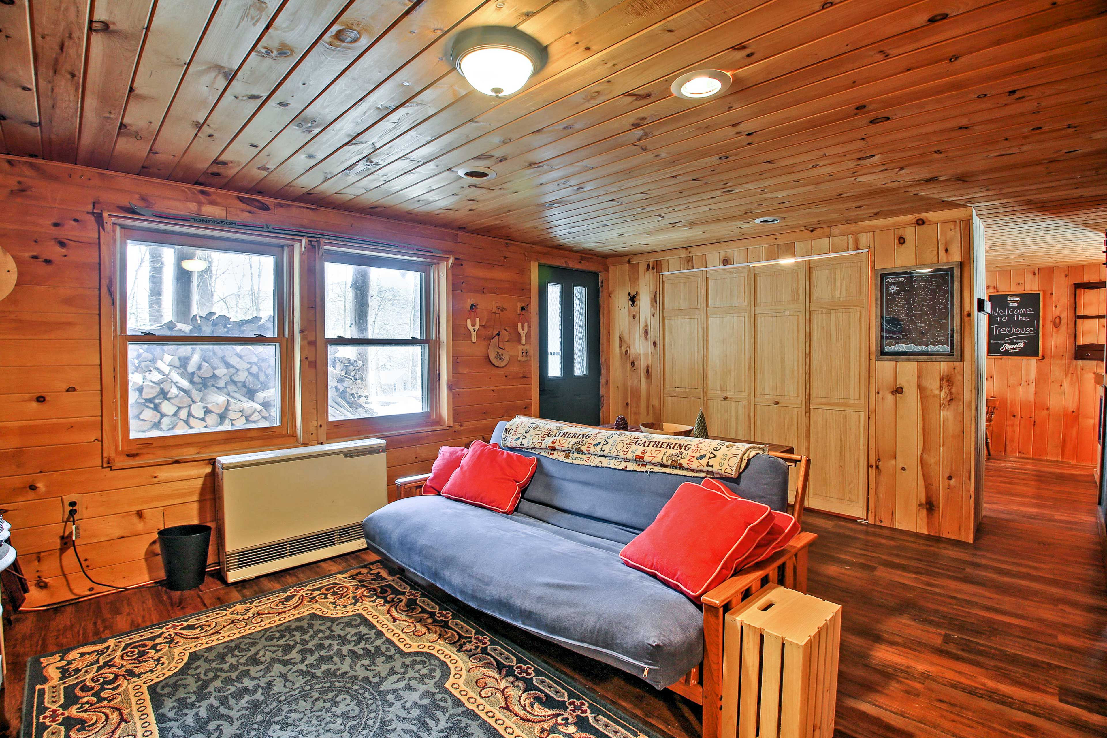 The basement offers a futon for additional sleeping.