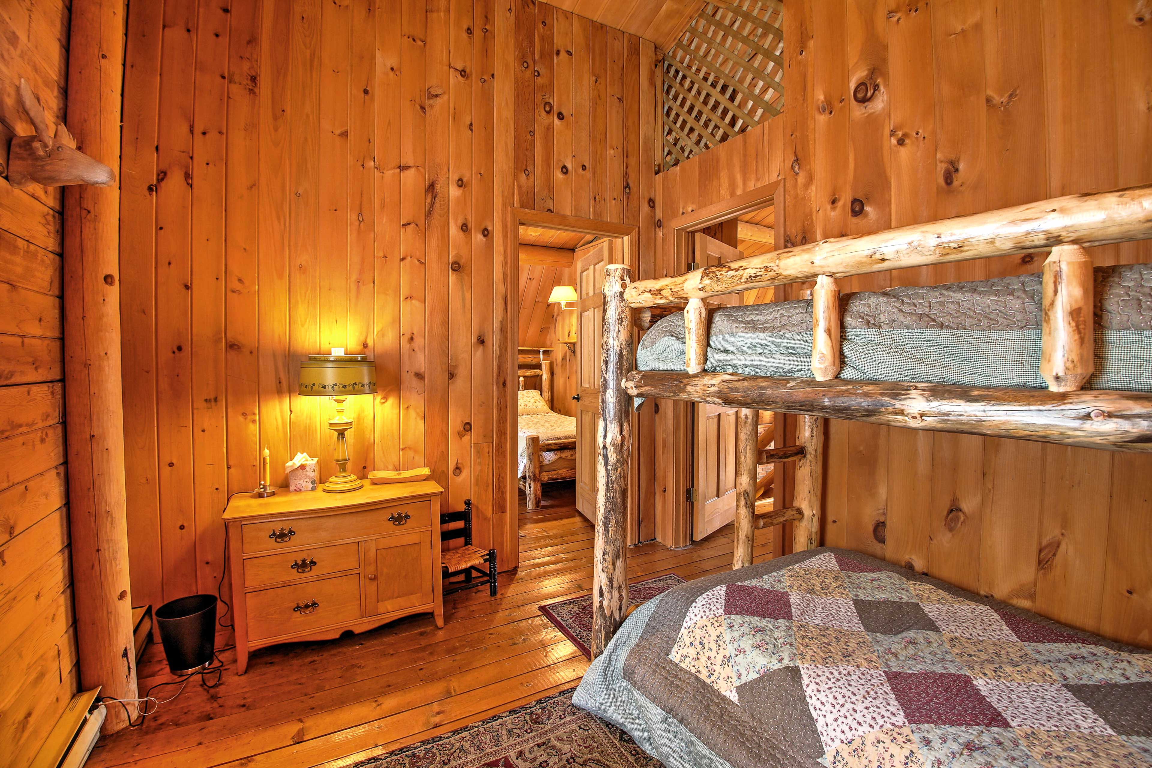 Fall in love with the knotty pine accents throughout the cabin.