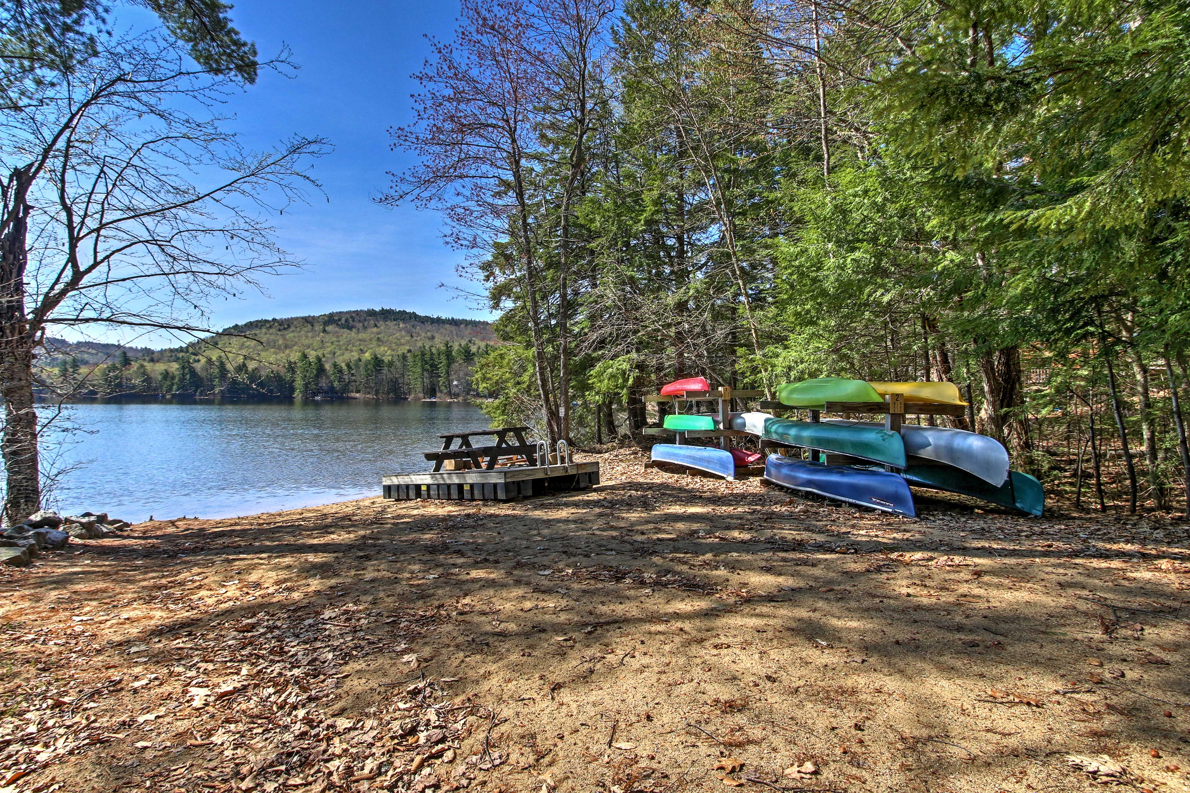 Enjoy the beach and lake that are just steps from the cabin.