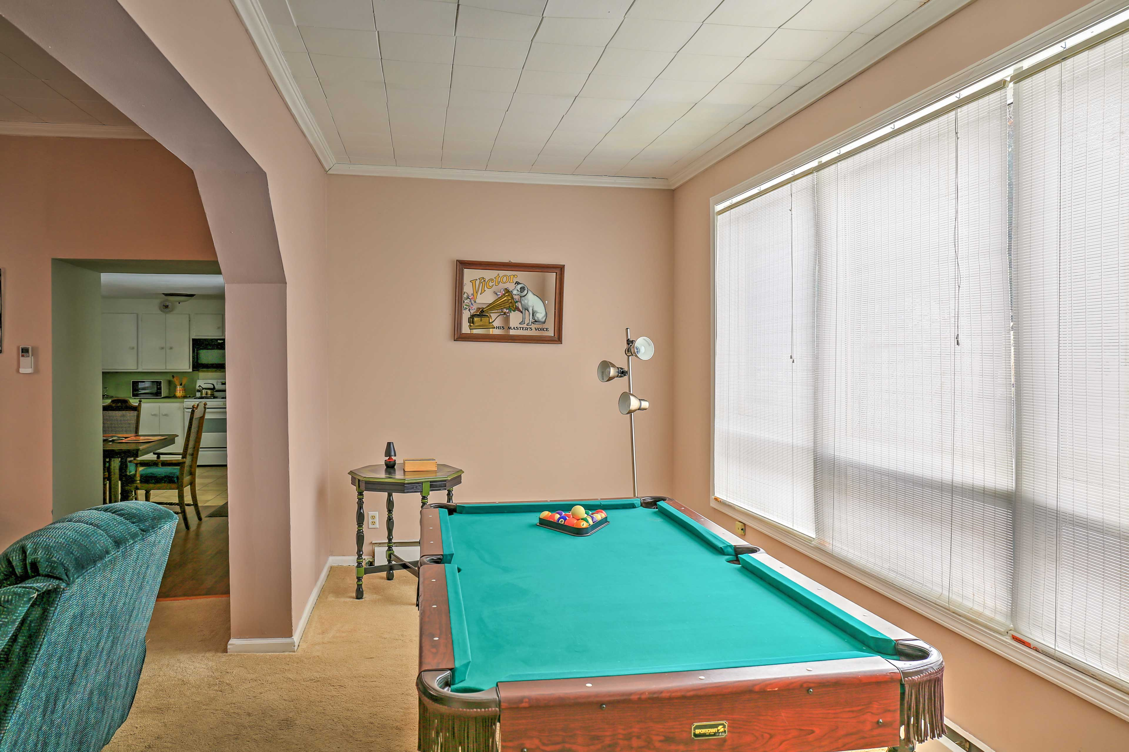 Challenge your travel companions to a game of pool.
