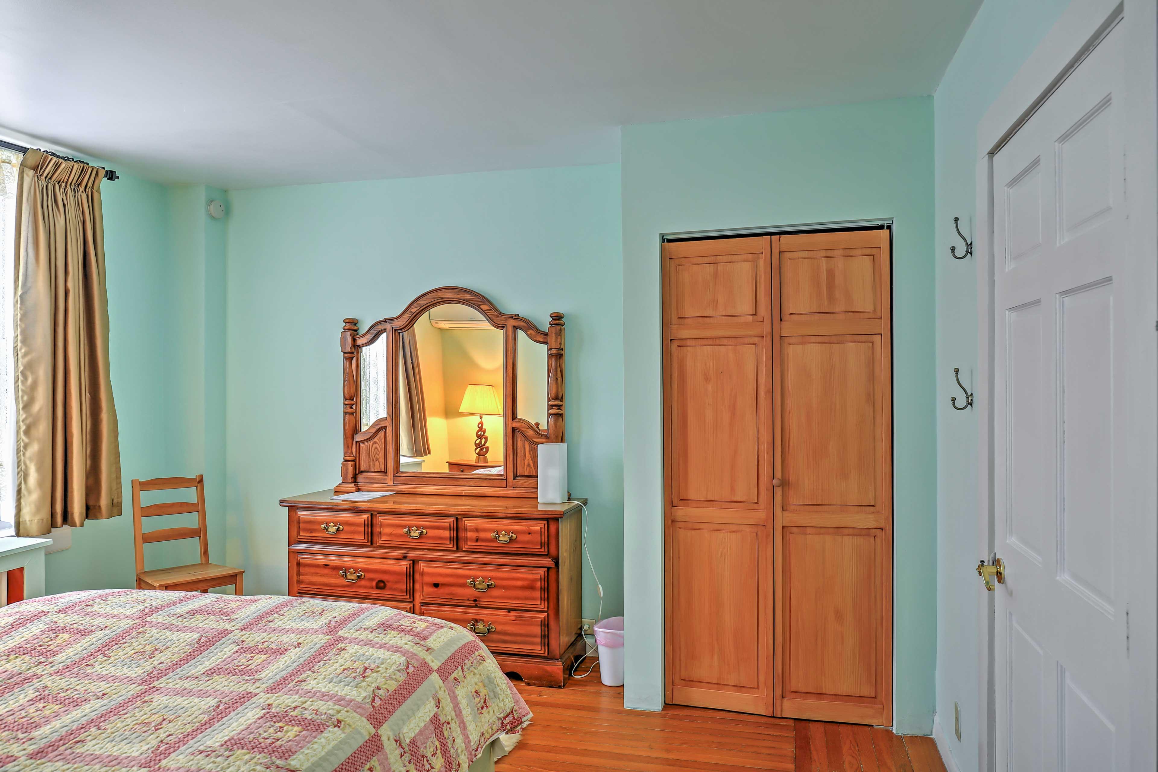 Wood furnishings adorn each room.