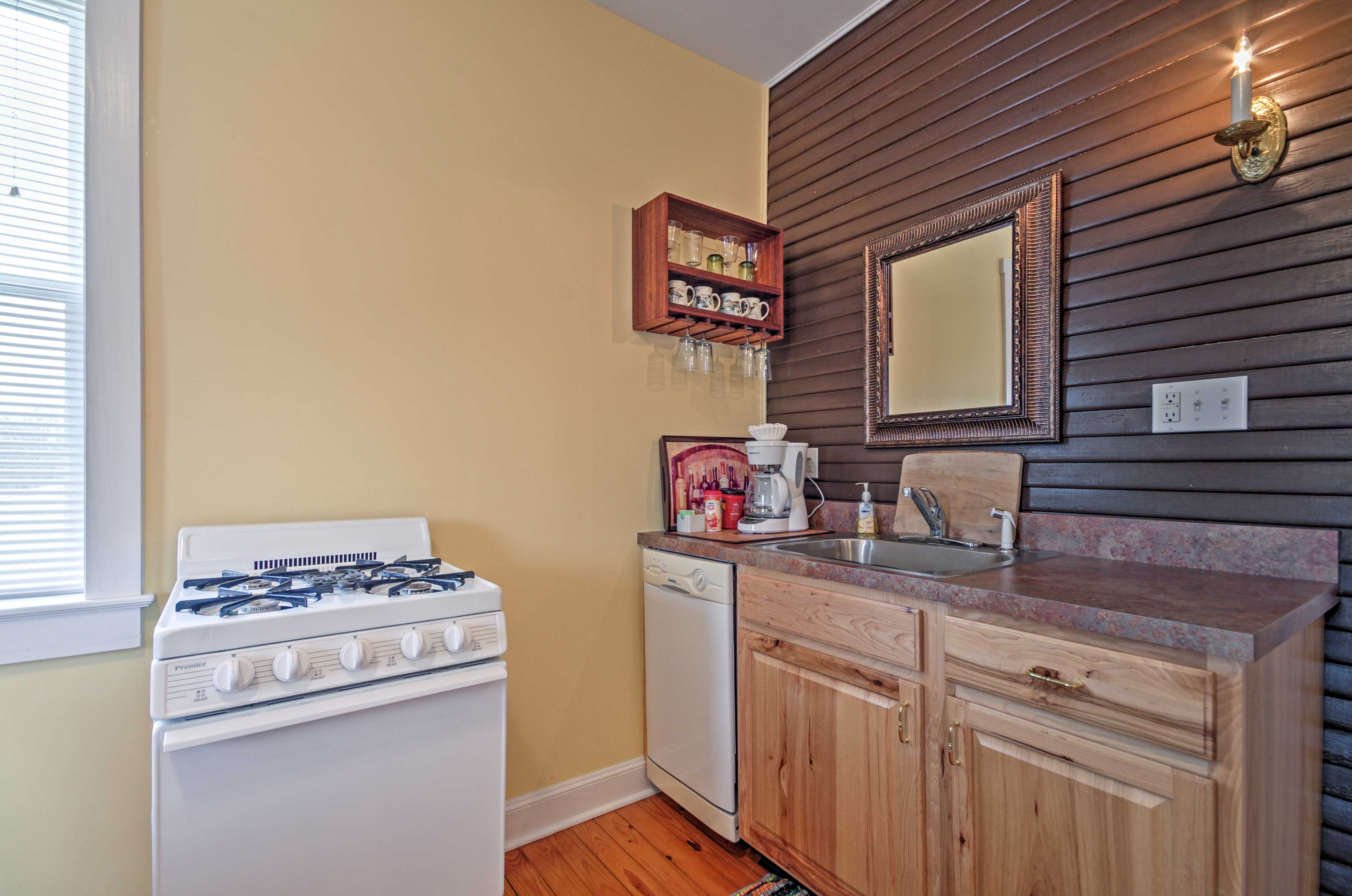 Create your favorite home-cooked meals in the fully equipped kitchen.