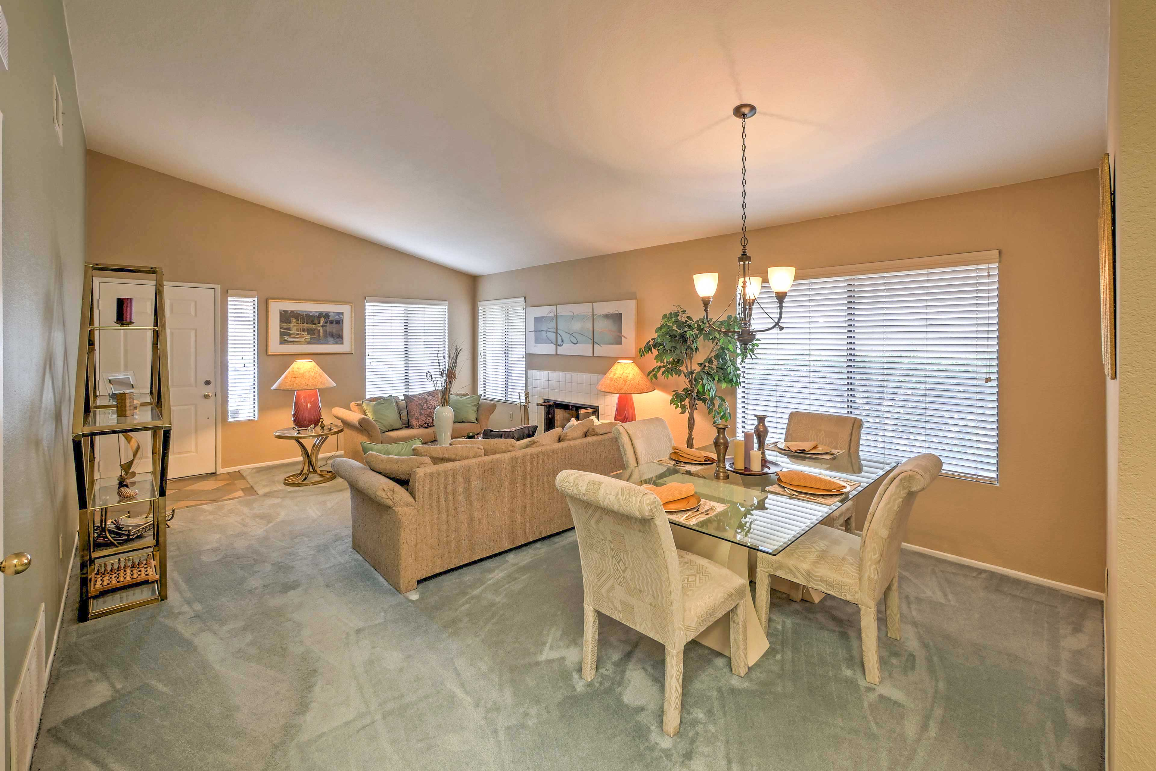 Gather around the dining room table for family family board games and meals.