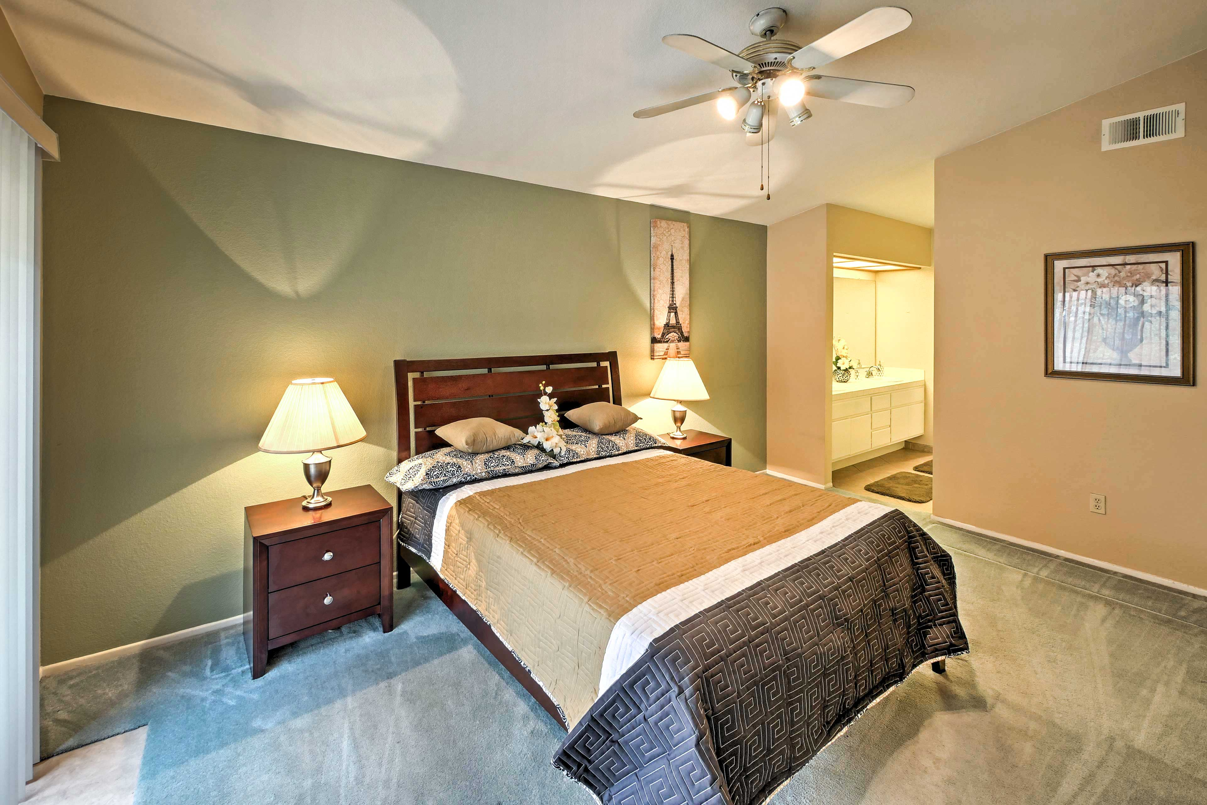 After fun days at Disney or exploring Corona, rest easy in the master bedroom.