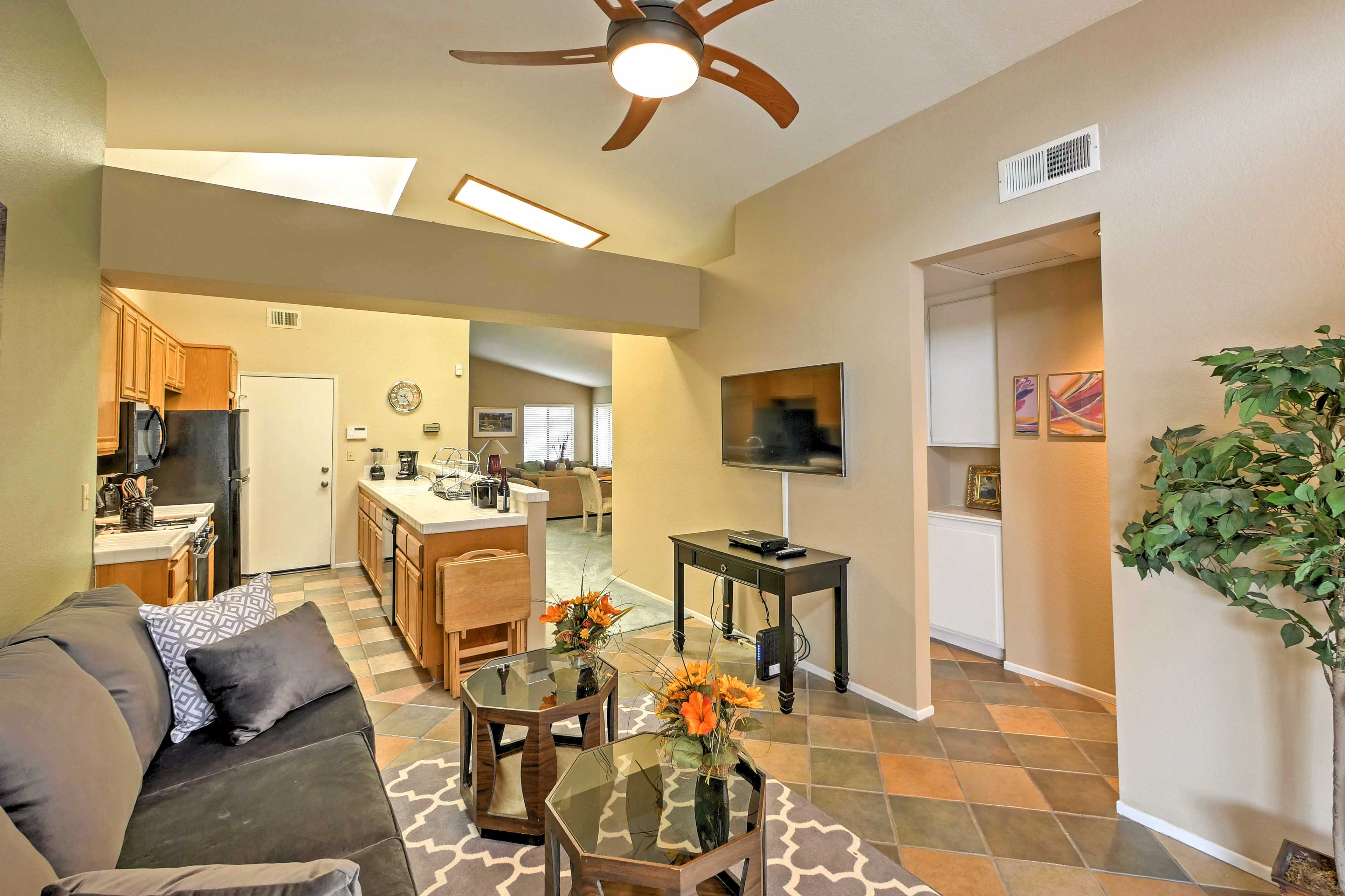 The open kitchen and dining room area is great for visiting with loved ones.