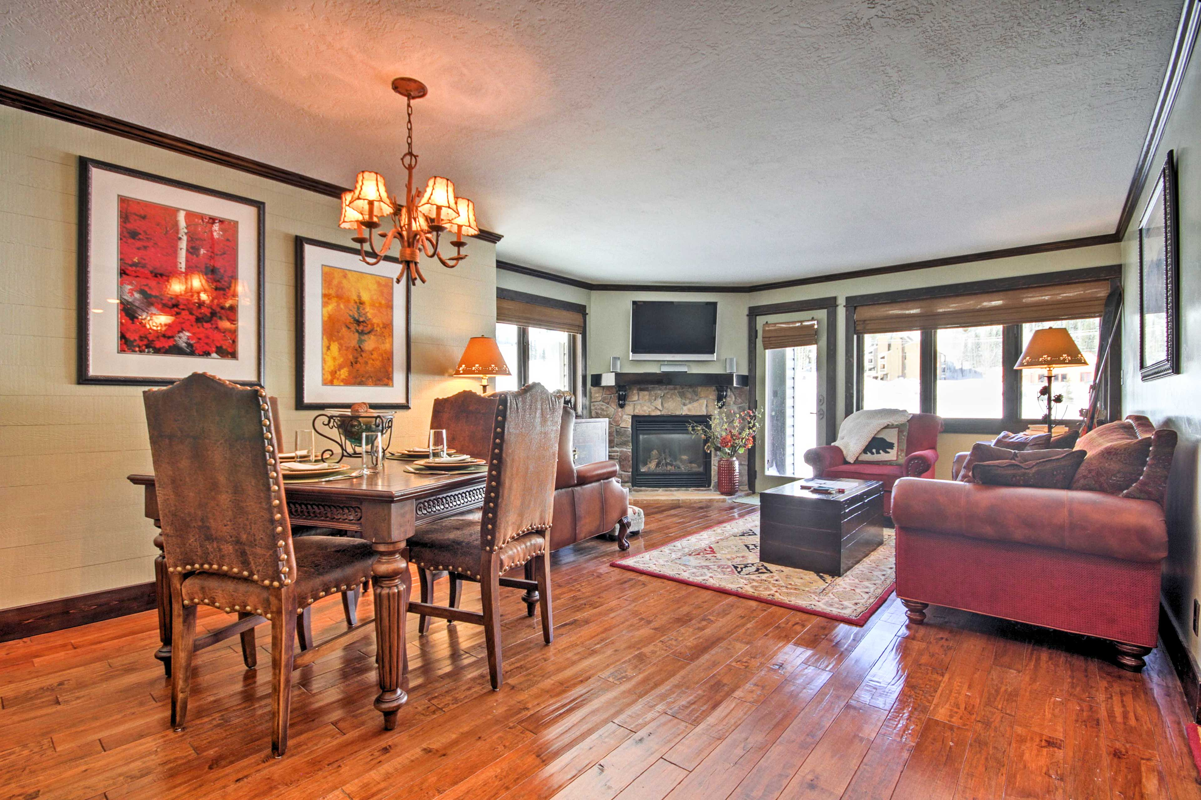 Hardwood floors carry you from room to room.