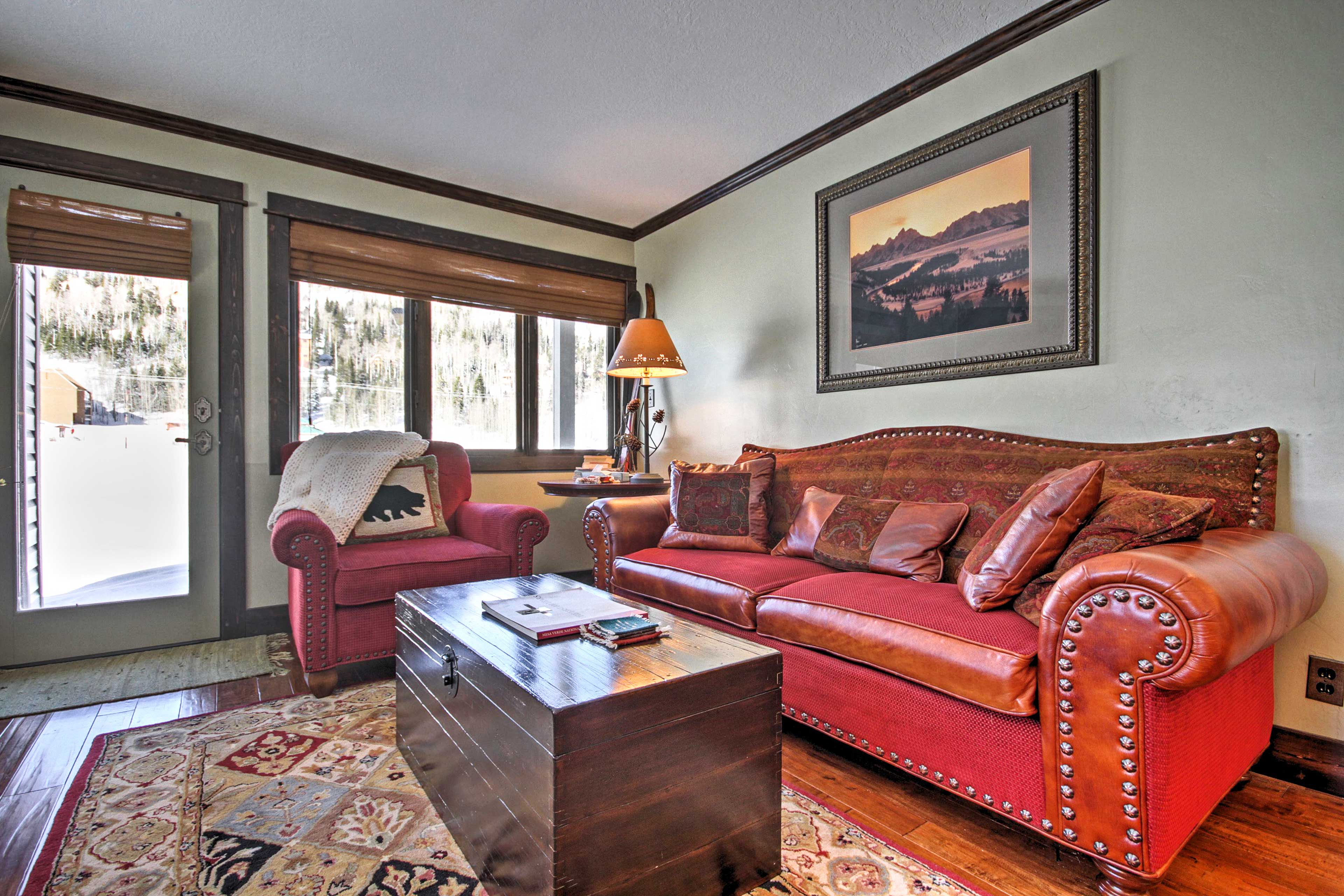 Relax on the plush couches in the living room.