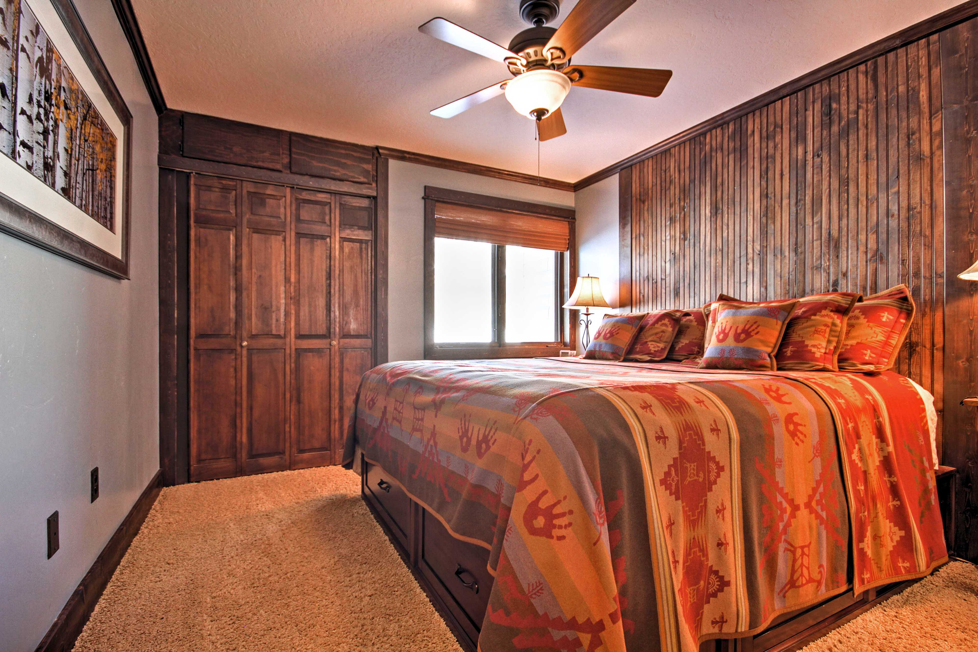 The master bedroom features a California king bed.