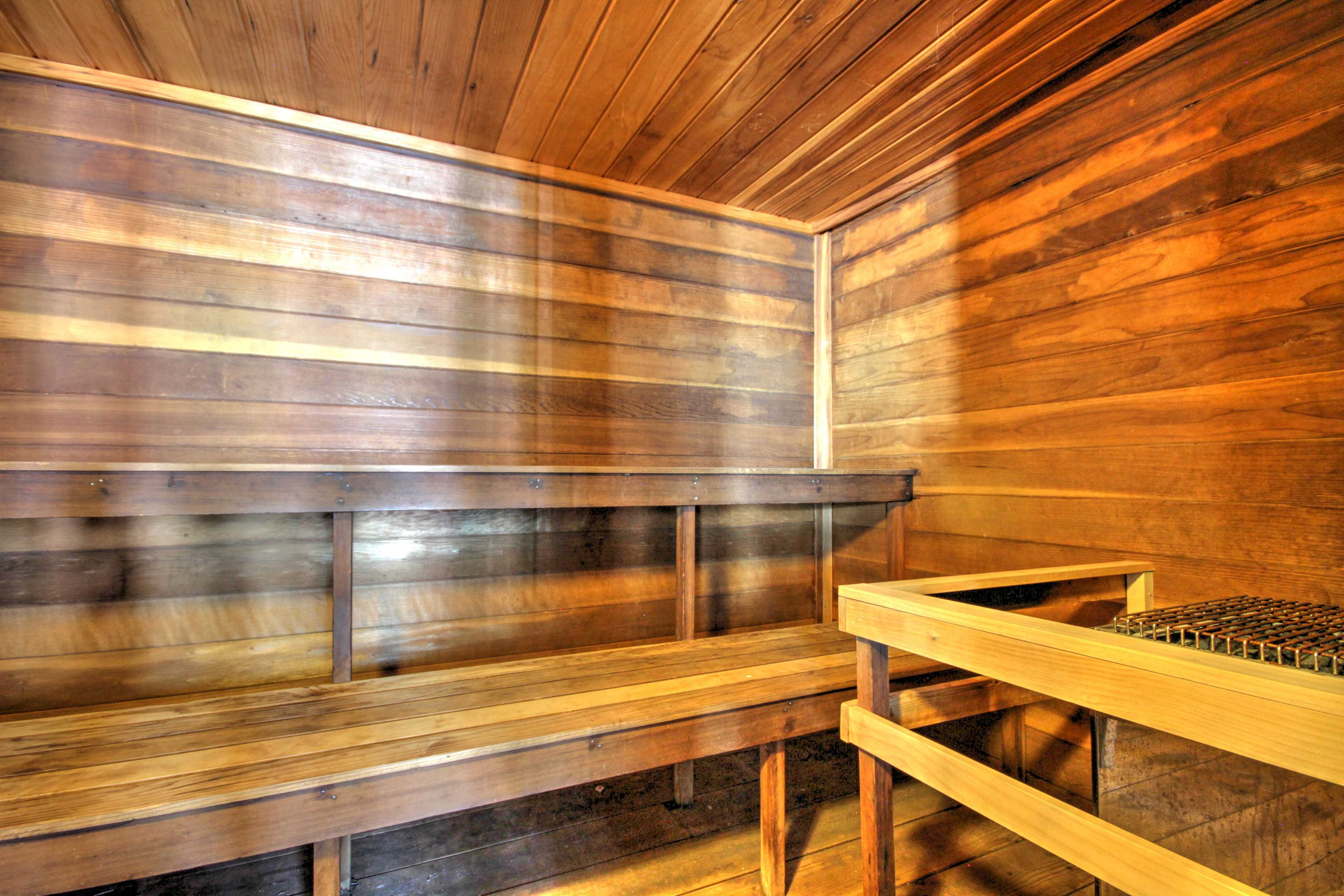 Ease sore muscles with an afternoon in the sauna.