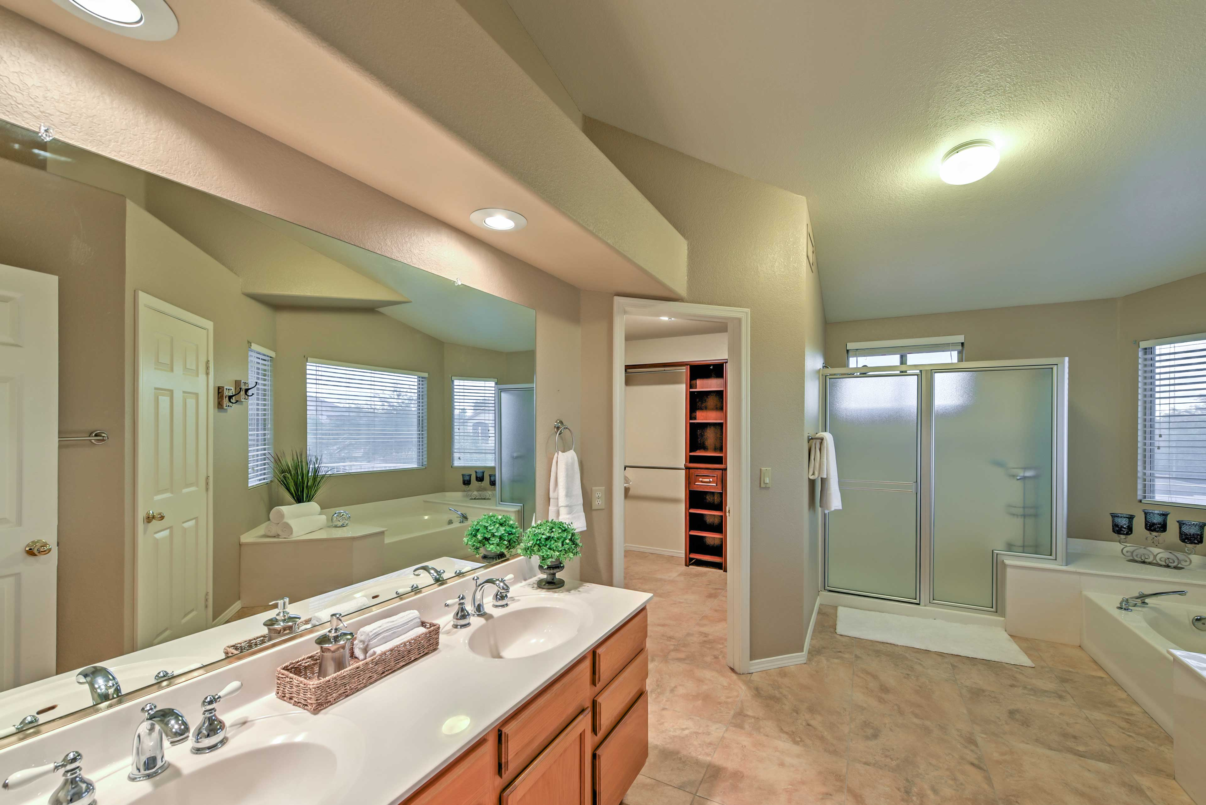 There's plenty of space for couples to get ready at the double vanity.