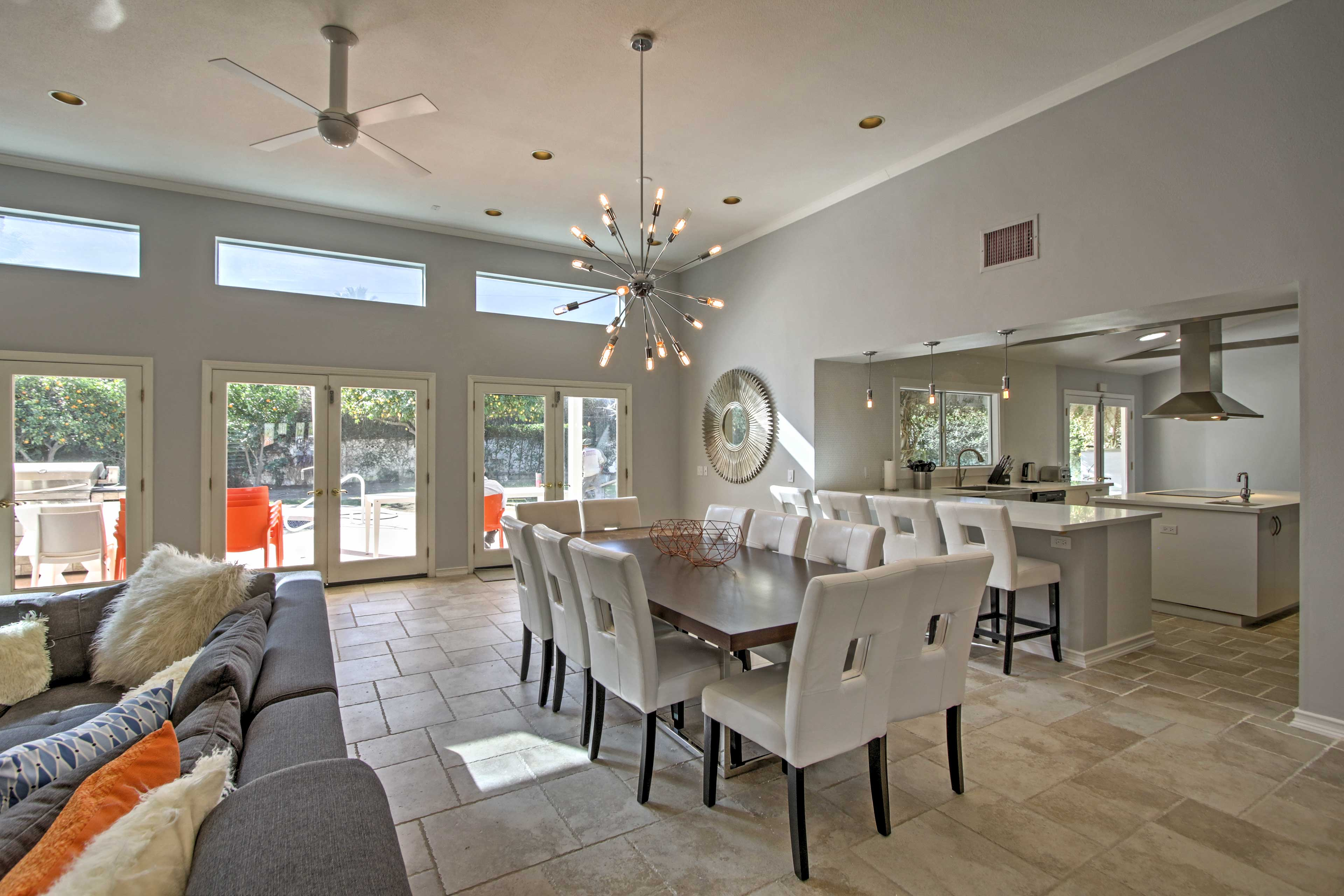 Enjoy a meal at the large dining table.